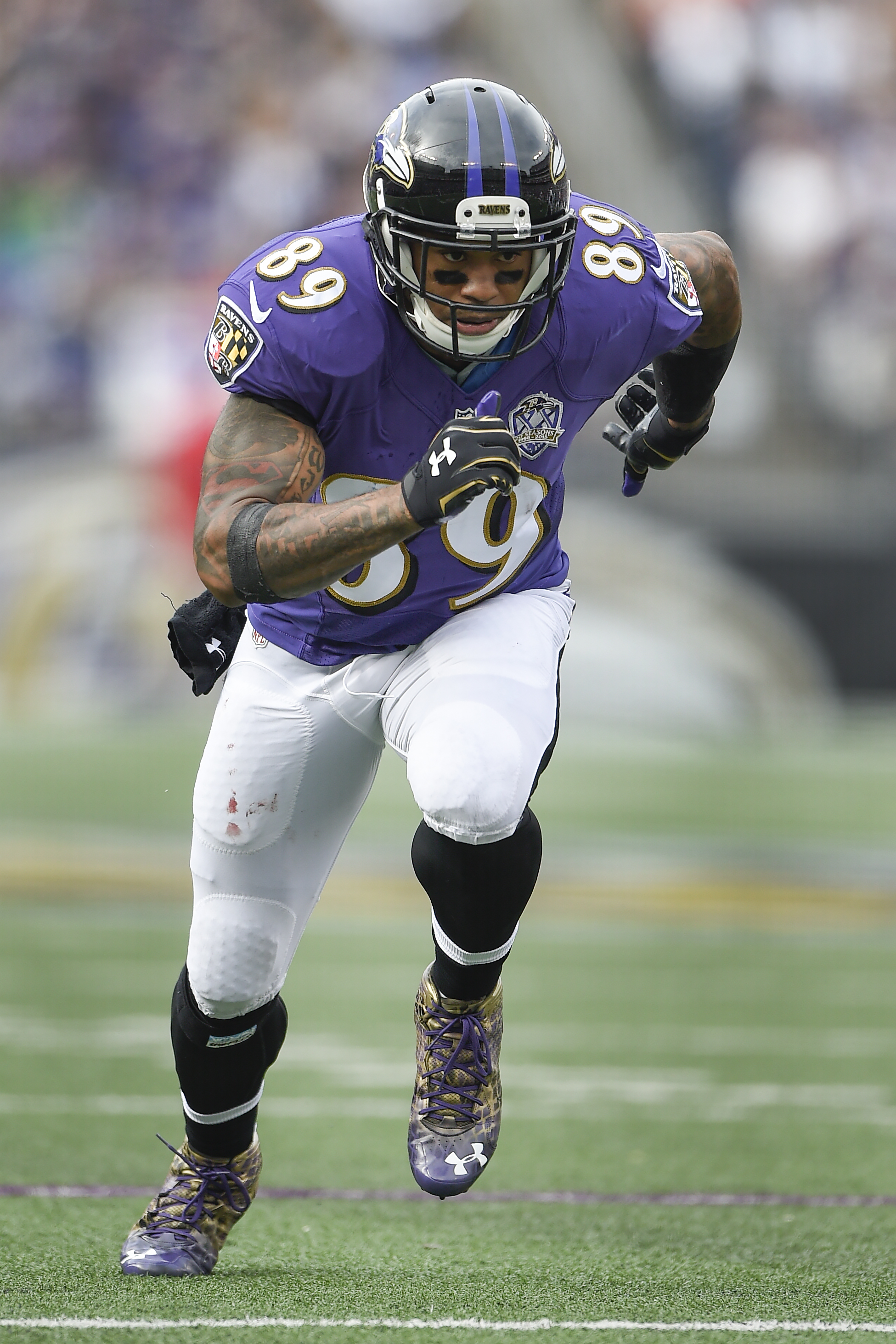 Baltimore Ravens wide receiver Steve Smith (89) is action during the first half of an NFL football game against the San Diego Chargers in Baltimore, Sunday, Nov. 1, 2015. (AP Photo/Nick Wass)
