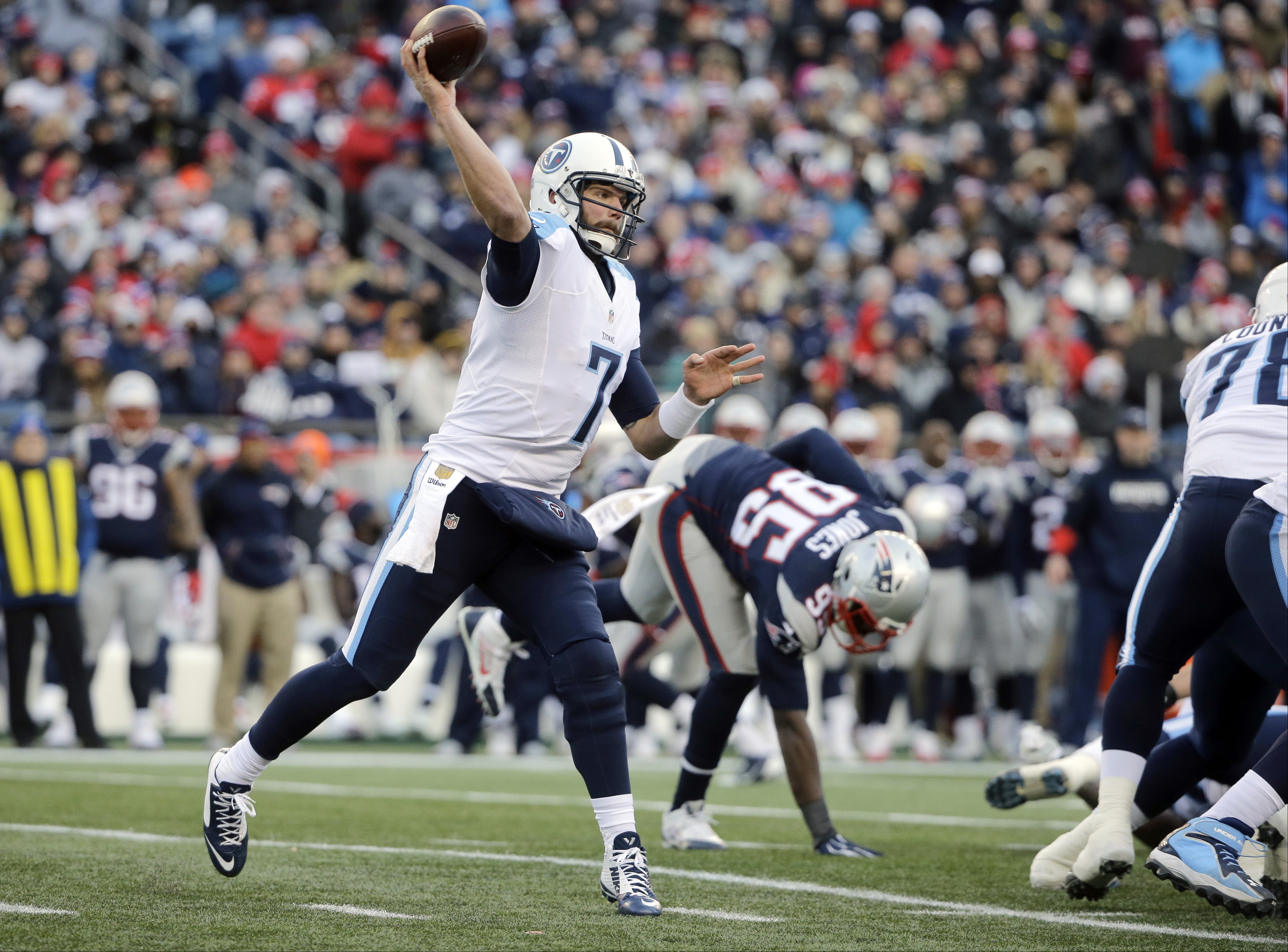 FILE- In this Dec. 20, 2015, file photo, Tennessee Titans quarterback Zach Mettenberger (7) passes against the New England Patriots during an NFL football game in Foxborough, Mass. The Titans play the Indianapolis Colts on Sunday, Jan. 3. (AP Photo/Steven