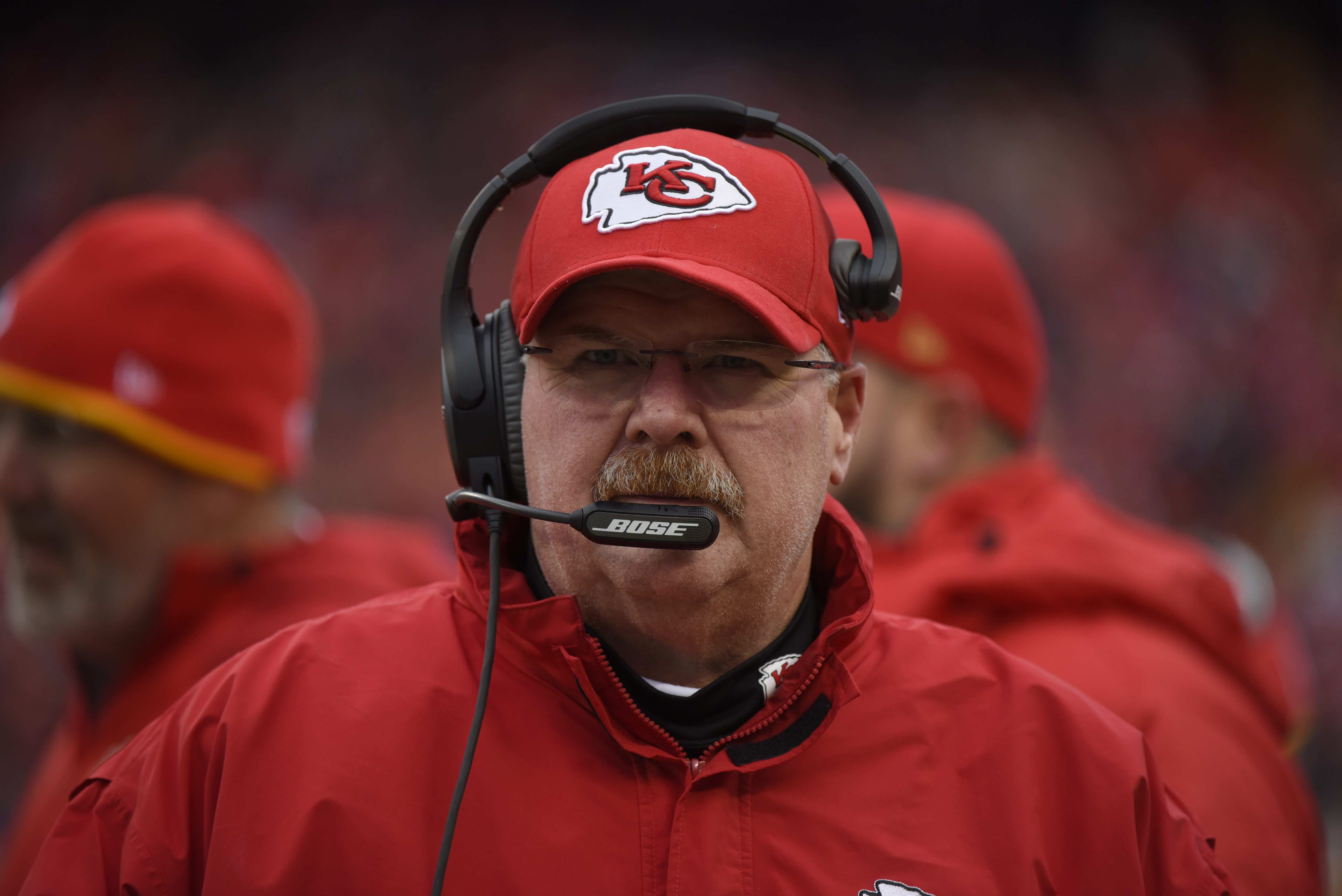 FILE - In this Dec. 27, 2015, file photo, Kansas City Chiefs head coach Andy Reid follows from the sideline during the first half of an NFL football game against the Cleveland Browns in Kansas City, Mo. Reid encourages his players to express their persona