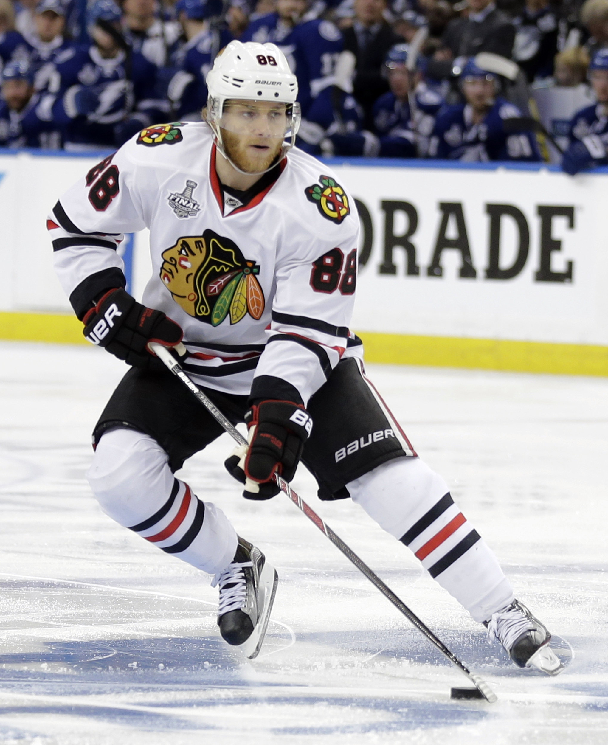 "FILE - In this June 6, 2015, file photo, Chicago Blackhawks right wing Patrick Kane skates against the Tampa Bay Lightning during the second period in Game 2 of the NHL hockey Stanley Cup Final in Tampa, Fla. The NHL says it is ""following developments"" of"