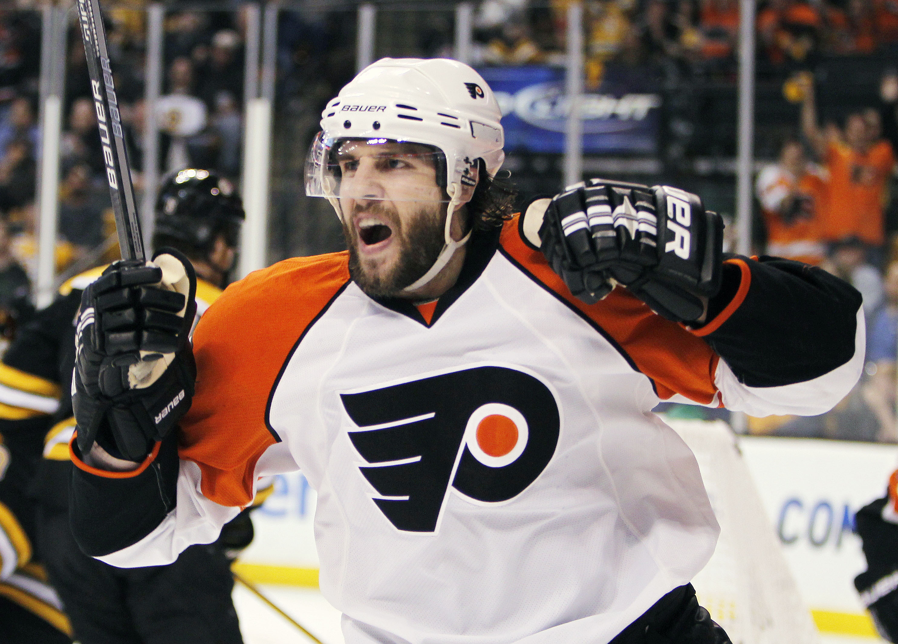 FILE - In this May 14, 2010, file photo, Philadelphia Flyers' Simon Gagne celebrates his go-ahead goal in the third period of Game 7 of a second-round NHL playoff hockey series against the Boston Bruins in Boston. Gagne, who had 291 goals and 310 assists