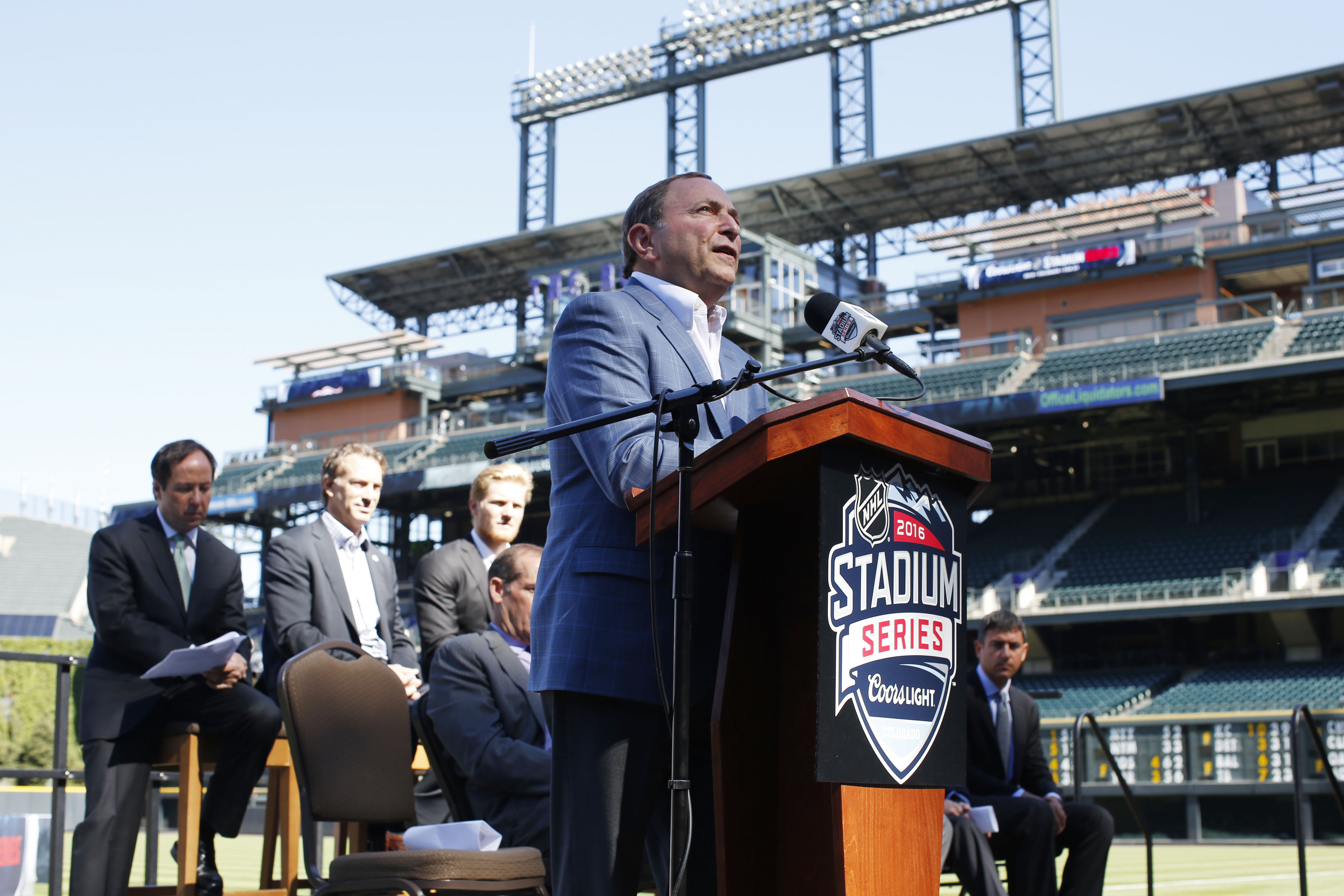 National Hockey League Commissioner Gary Bettman speaks during a news conference Monday, Sept. 21, 2015, in Denver to announce that Coors Field will host the 2016 NHL Stadium Series hockey game. The game between the Red Wings and Avalanche is set for Satu