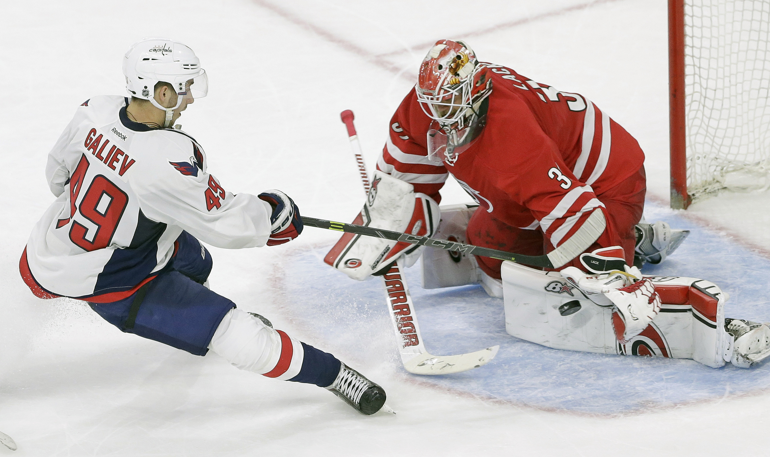 Carolina Hurricanes goalie Eddie Lack, of Sweden, defends against Washington Capitals' Stanislav Galiev (49), of Russia, during the third period of an NHL preseason hockey game in Raleigh, N.C., Wednesday, Sept. 30, 2015. Carolina won 4-3 in a shootout. (