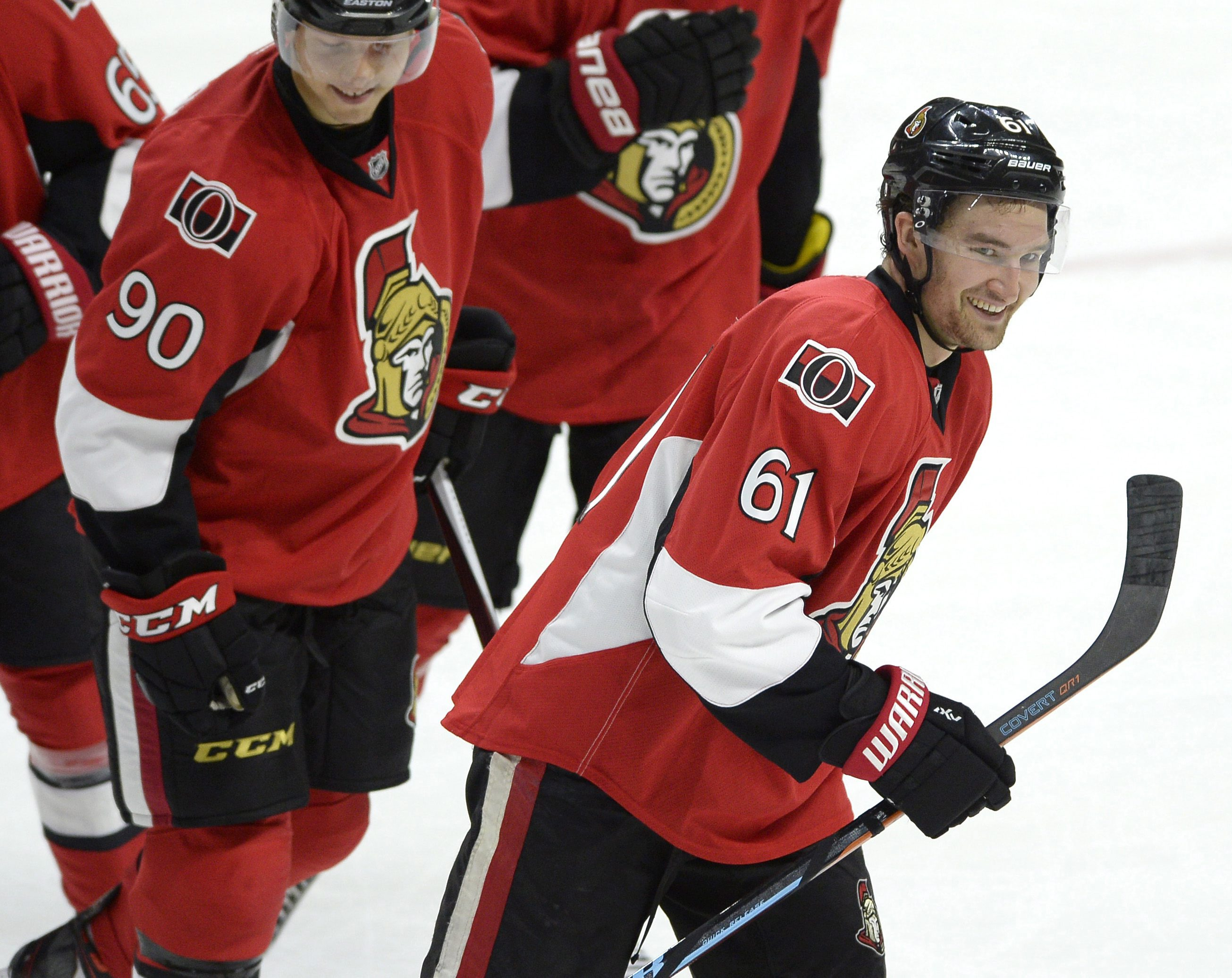Ottawa Senators' Mark Stone (61) celebrates his goal against the Montreal Canadiens during the second period of a pre-season NHL hockey game, Saturday, Oct. 3, 2015, in Ottawa, Ontario. (Justin Tang /The Canadian Press via AP) MANDATORY CREDIT