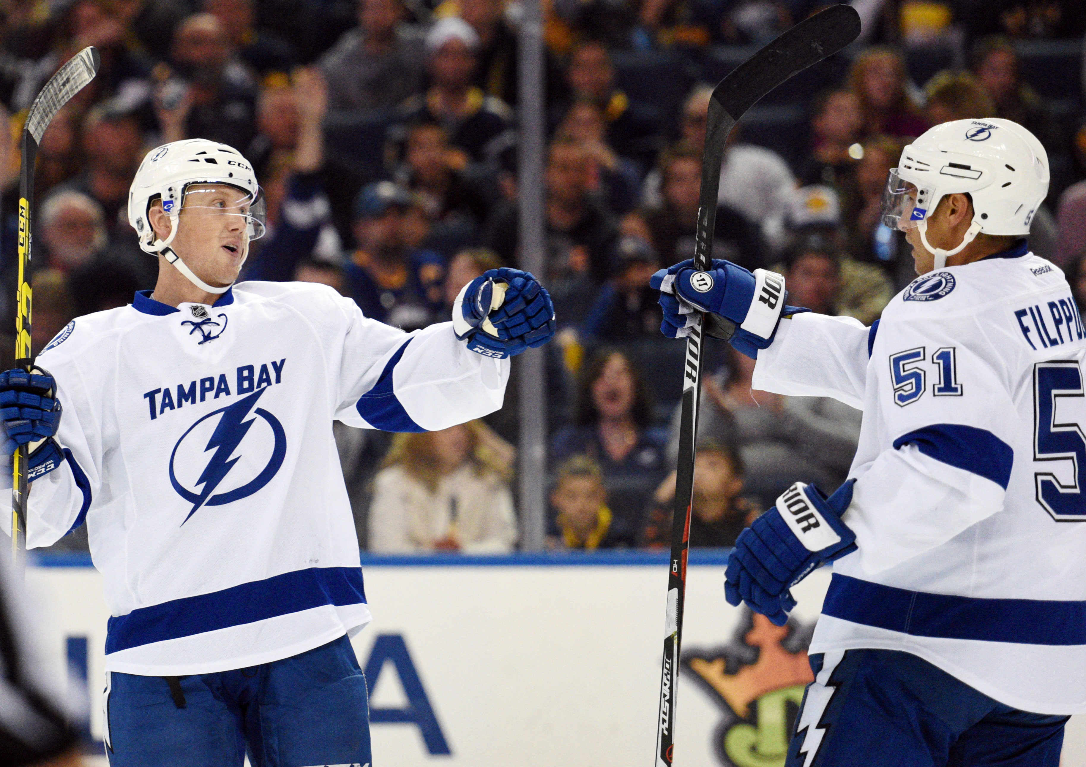 Tampa Bay Lightning right winger Erik Condra, right, celebrates his goal with center Valtteri Filppula (51) during second period action of an NHL hockey game against the Buffalo Sabres, Saturday, Oct. 10, 2015, in Buffalo, N.Y. (AP Photo/Gary Wiepert)