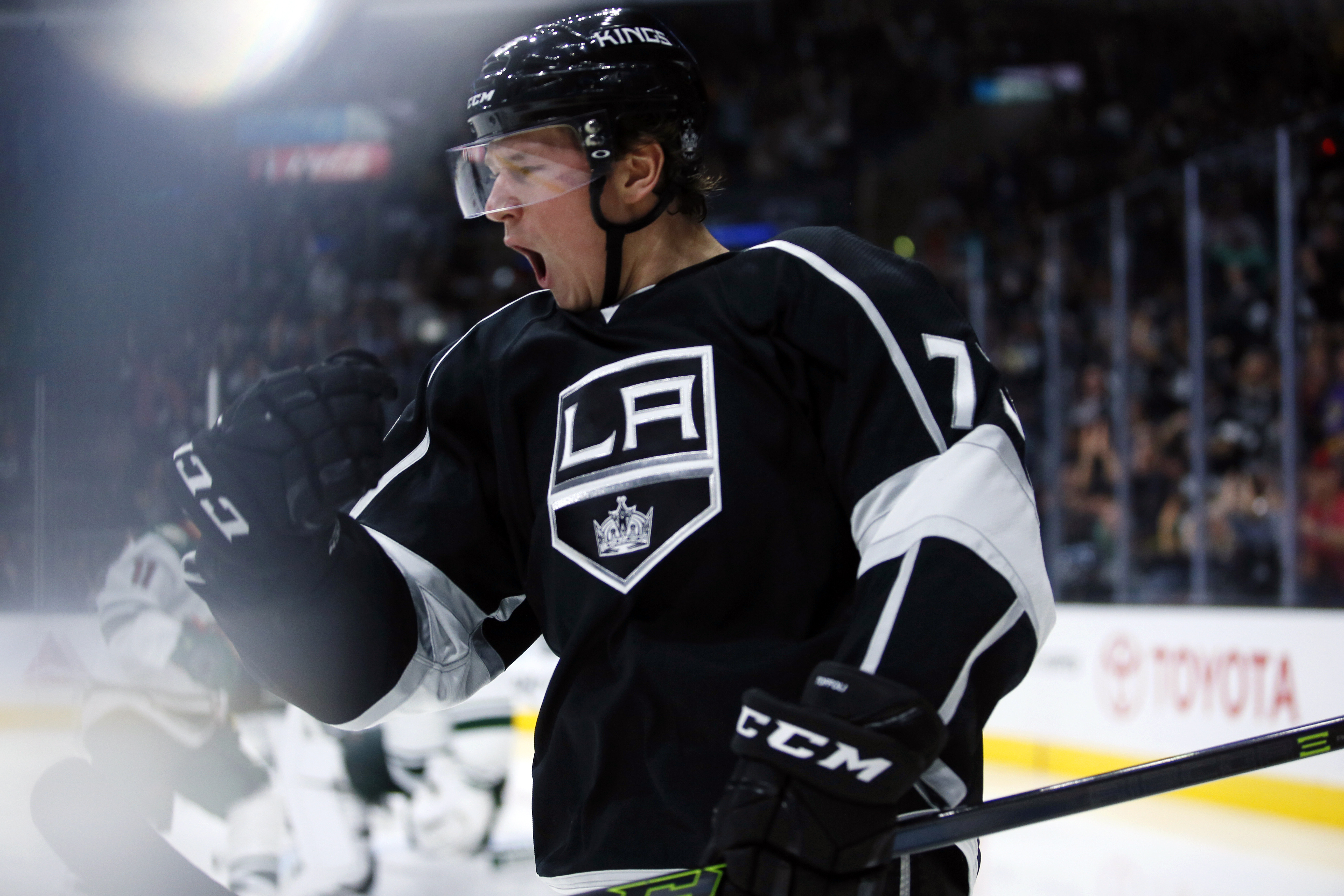 Los Angeles Kings center Tyler Toffoli celebrates his power play goal against the Minnesota Wild during the second period of an NHL hockey game, Friday, Oct. 16, 2015, in Los Angeles. (AP Photo/Danny Moloshok)