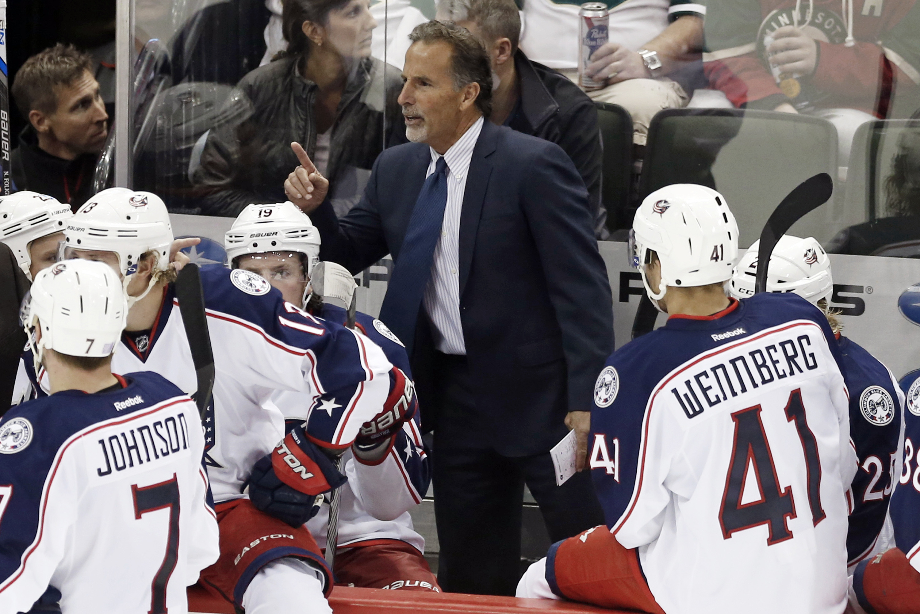 New Columbus Blue Jackets head coach John Tortorella gives instructions during a time out in the third period of an NHL hockey game against the Minnesota Wild, Thursday, Oct. 22, 2015, in St. Paul, Minn. The Wild won 3-2. (AP Photo/Jim Mone)