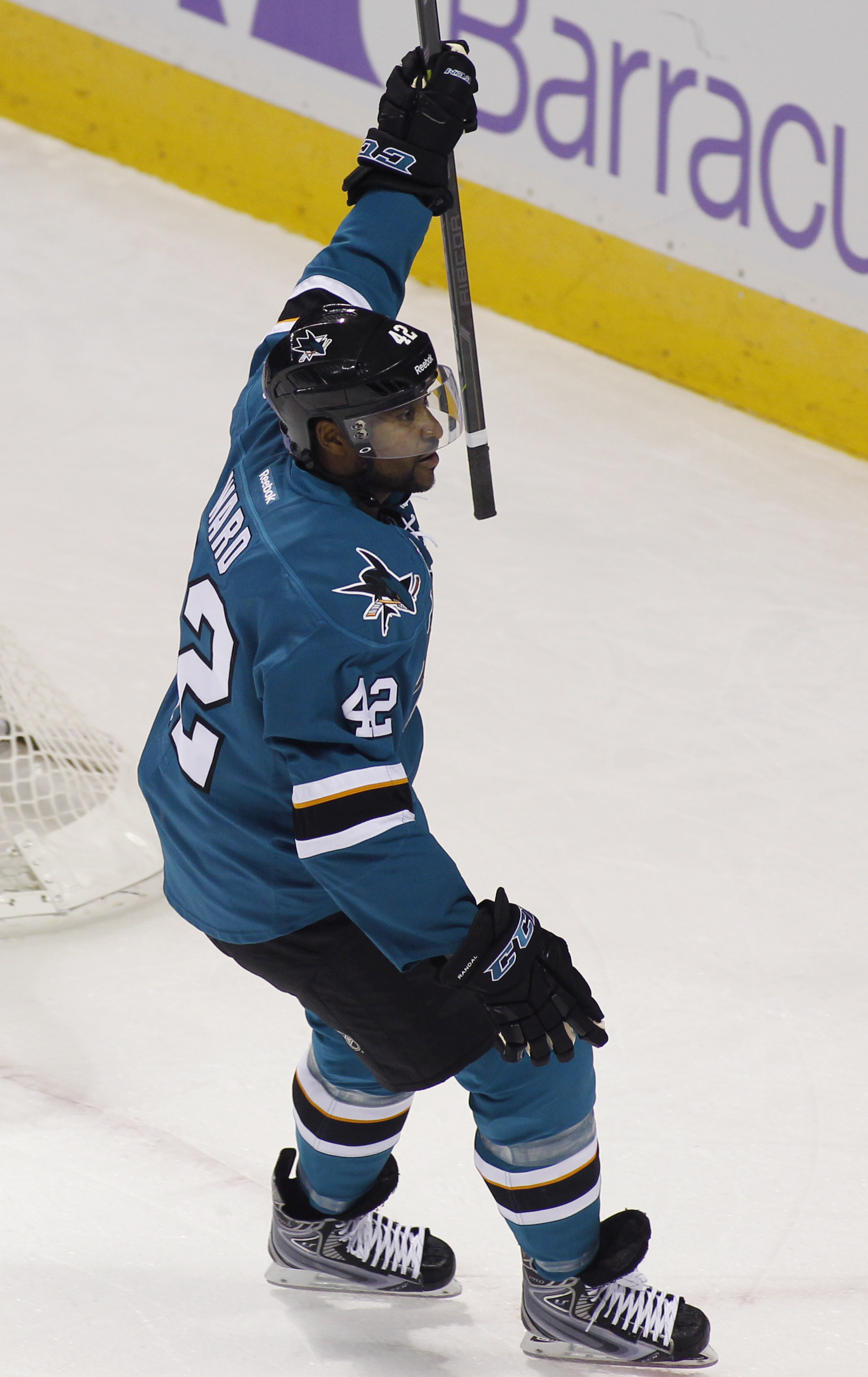 San Jose Sharks' Joel Ward reacts after scoring a goal against the Carolina Hurricanes during the first period of an NHL hockey game, Saturday, Oct. 24, 2015, in San Jose, Calif. (AP Photo/George Nikitin)