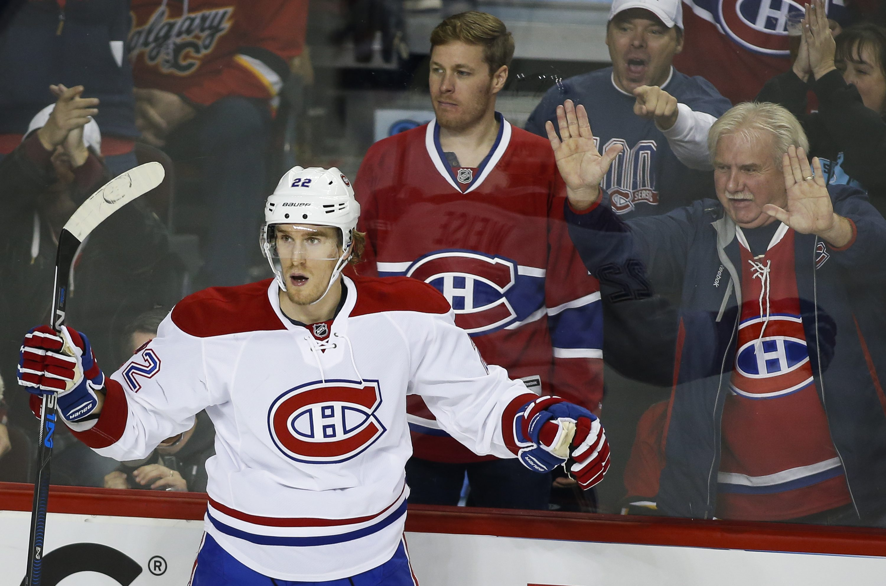 Montreal Canadiens' Dale Weise celebrates his goal against the Calgary Flames during the second period of an NHL hockey game Friday, Oct. 30, 2015, in Calgary, Alberta. (Jeff McIntosh/The Canadian Press via AP) MANDATORY CREDIT