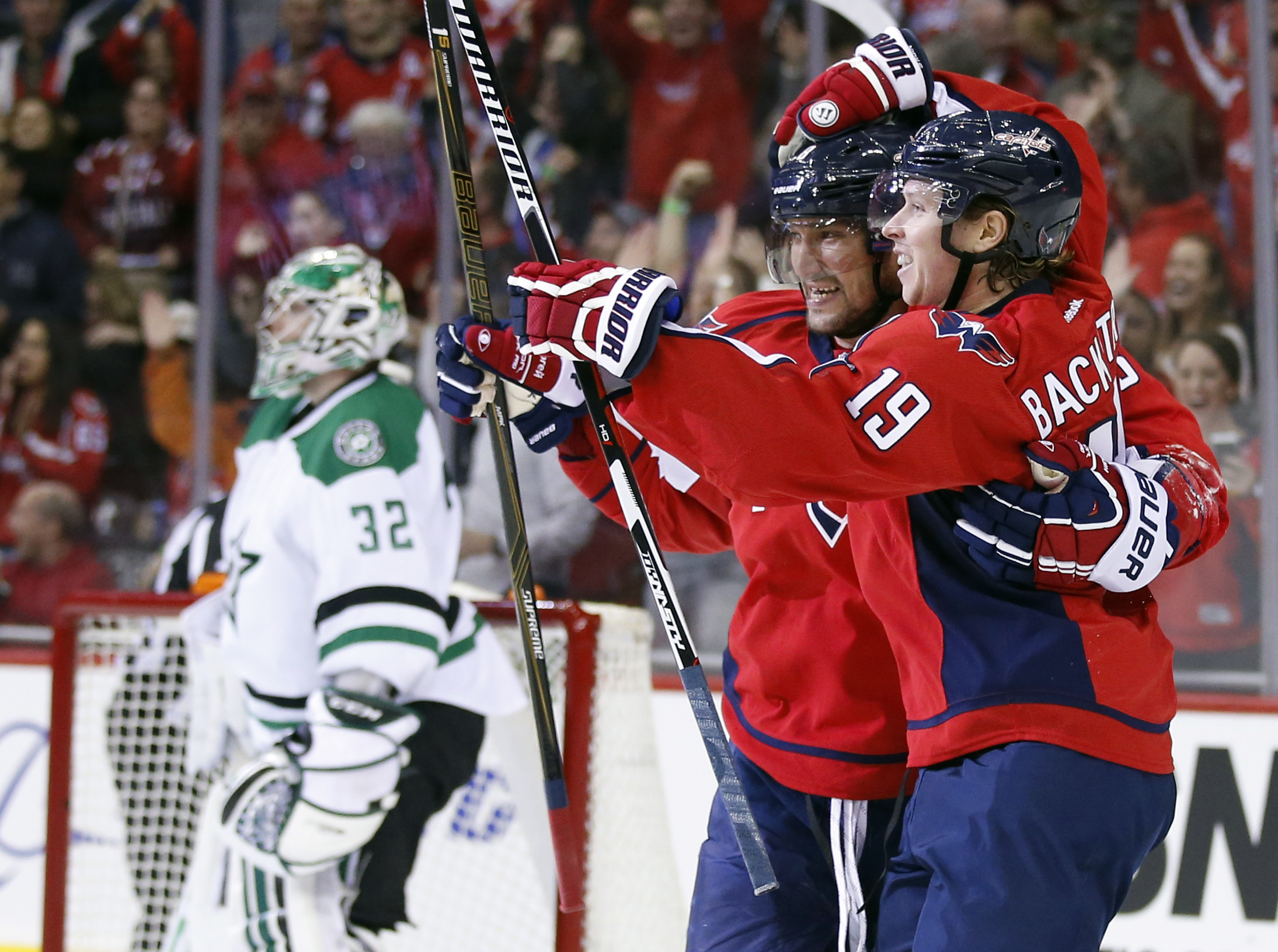 Washington Capitals left wing Alex Ovechkin (8), from Russia, celebrates with center Nicklas Backstrom (19), from Sweden, after Backstrom's goal past Dallas Stars goalie Kari Lehtonen (32), from Finland, during the first period of an NHL hockey game, Thur