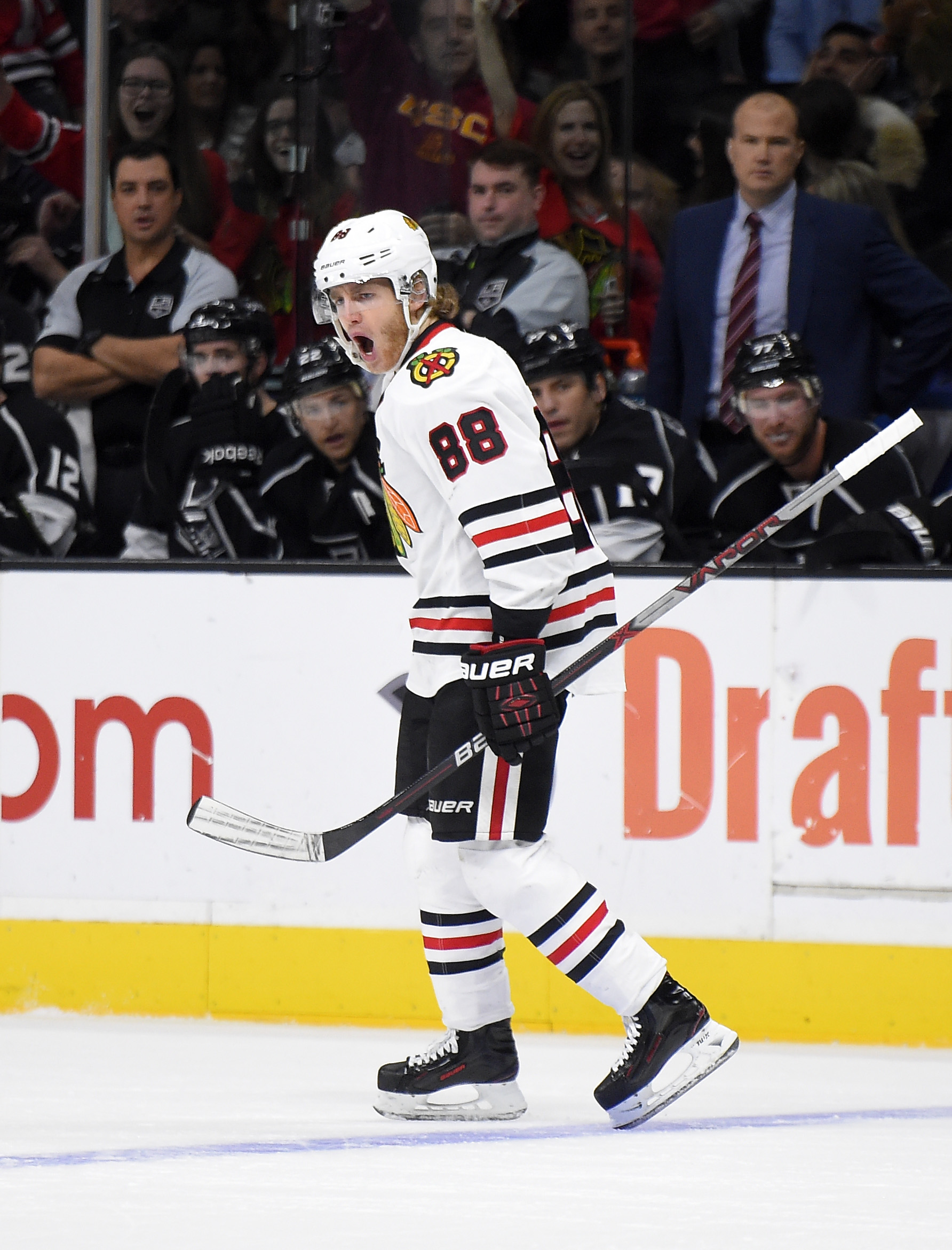 Chicago Blackhawks right wing Patrick Kane celebrates his goal during the first half of an NHL hockey game against the Los Angeles Kings, Saturday, Nov. 28, 2015, in Los Angeles. (AP Photo/Mark J. Terrill)