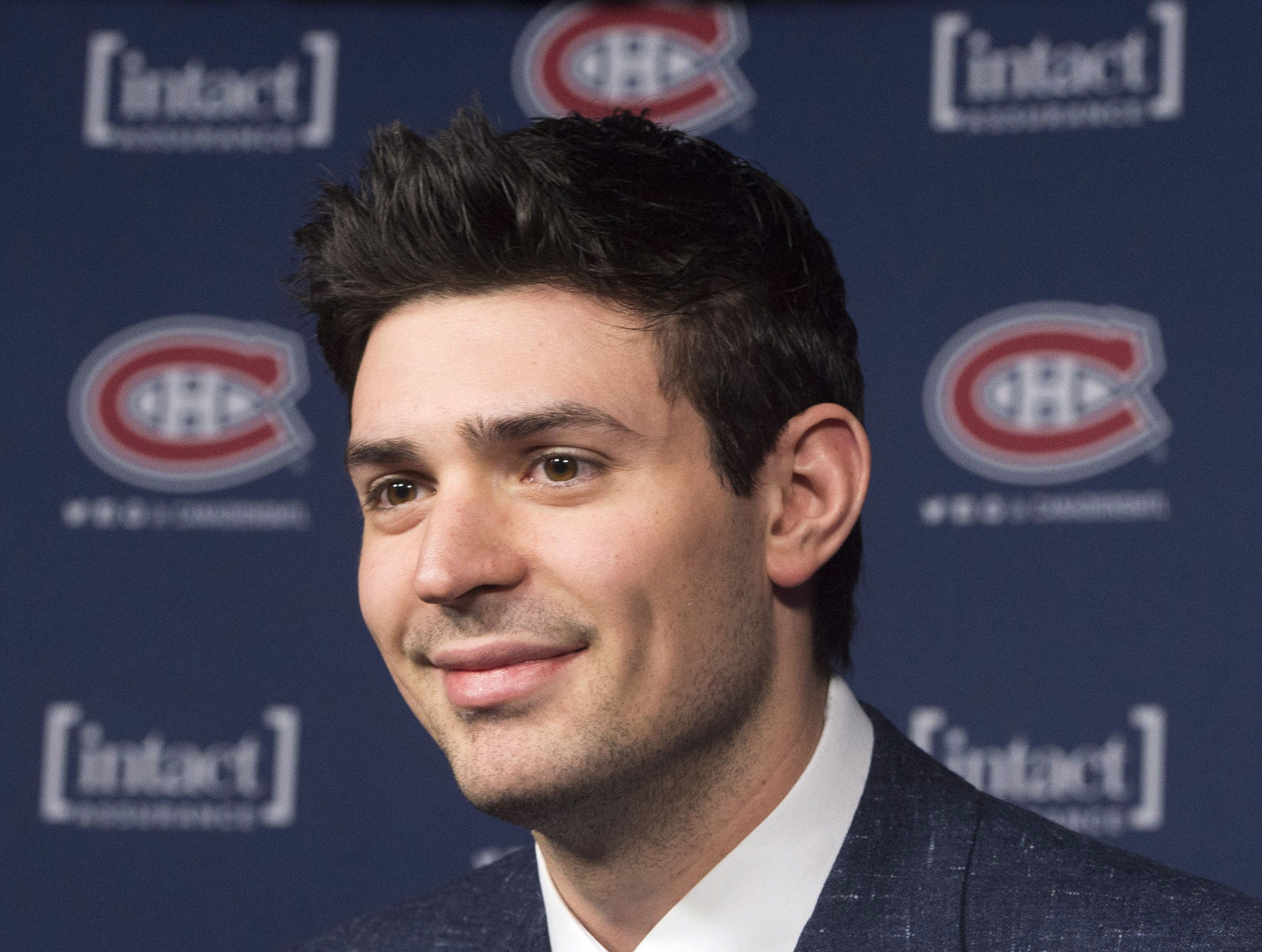 Montreal Canadiens' goaltender Carey Price speaks to the media after winning the Lou Marsh award as Canada's Athlete of the Year, in Montreal, on Tuesday, Dec. 15, 2015. (Ryan Remiorz/The Canadian Press via AP) MANDATORY CREDIT
