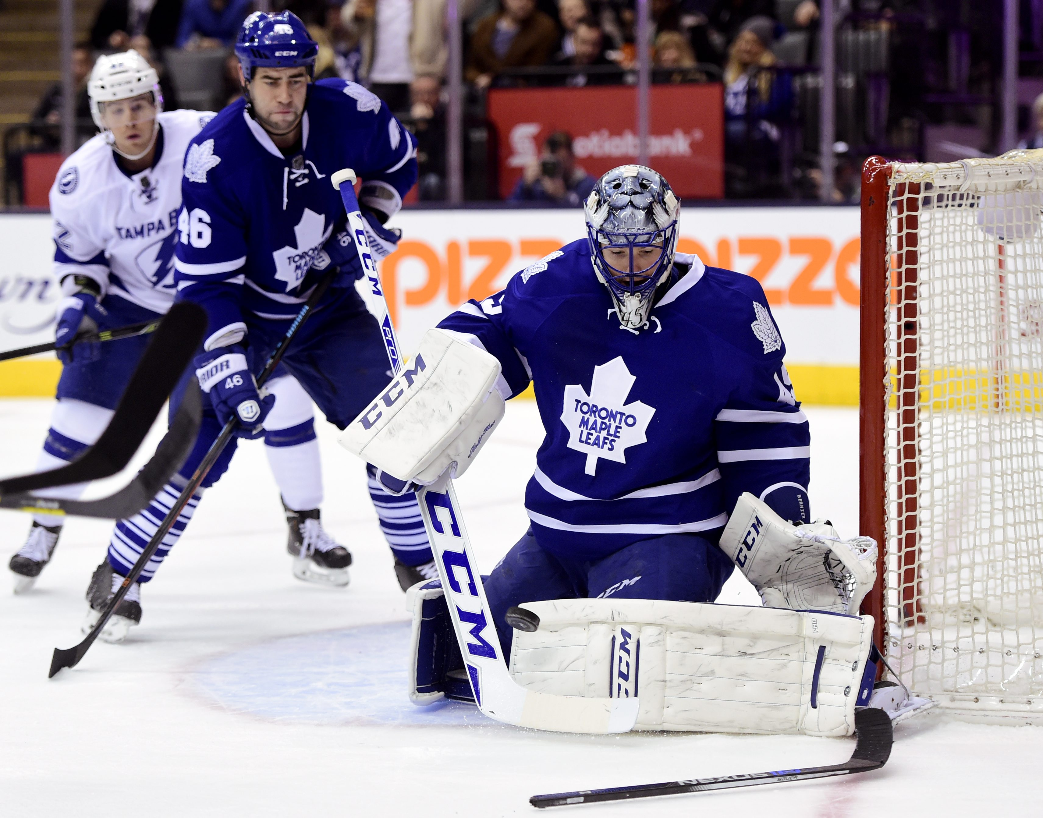 Toronto Maple Leafs' goalie Jonathan Bernier(45) makes the stop against the Tampa Bay Lightning during the third period of an NHL hockey game in Toronto, Tuesday, Dec. 15, 2015. (Frank Gunn/The Canadian Press via AP) MANDATORY CREDIT