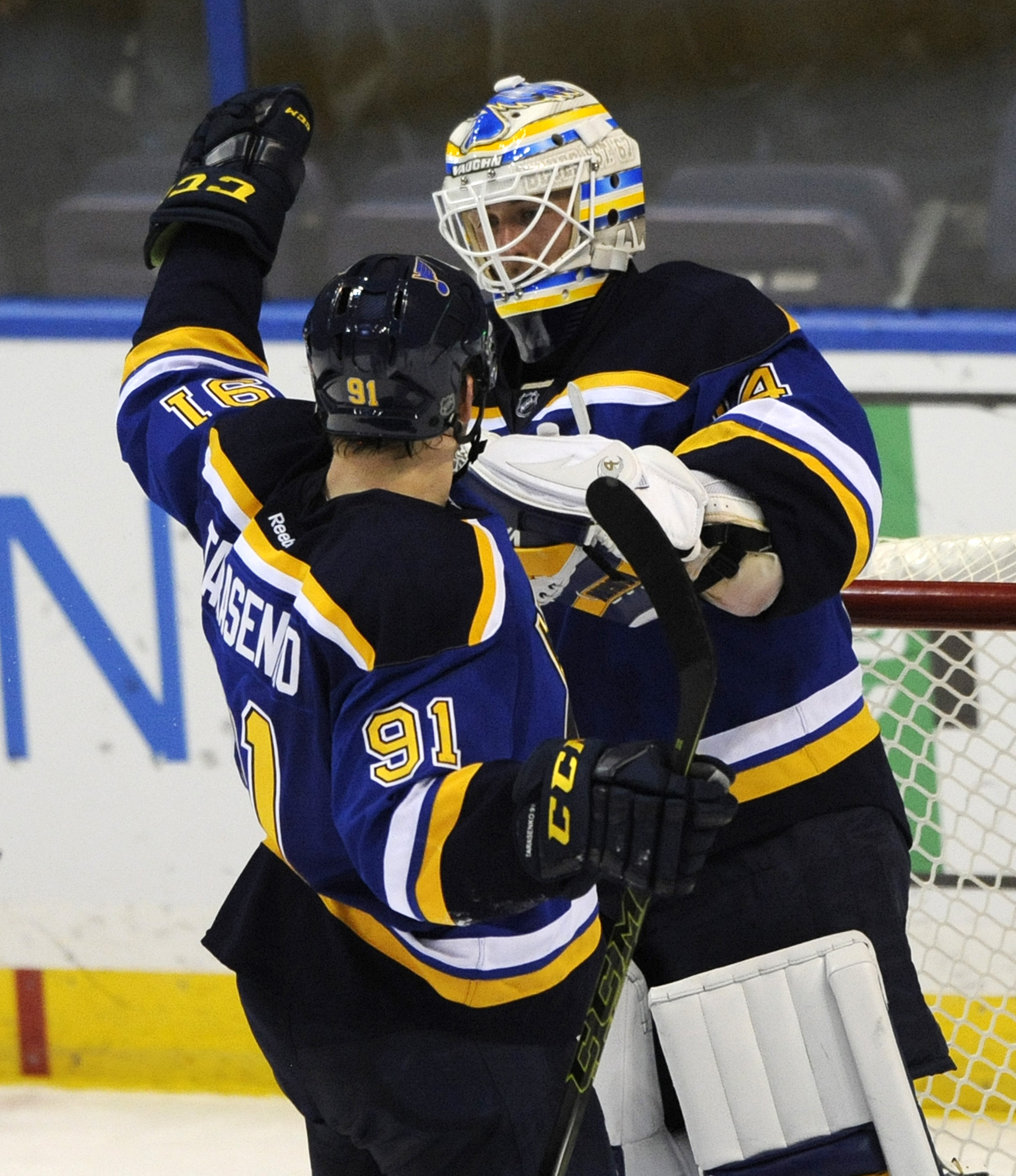 St. Louis Blues' Vladimir Tarasenko (91), of Russia, congratulates Blues' goalie Jake Allen, right, after their 2-1 victory over the Nashville Predators in an NHL hockey game, Thursday, Dec. 17, 2015, in St. Louis. (AP Photo/Bill Boyce)