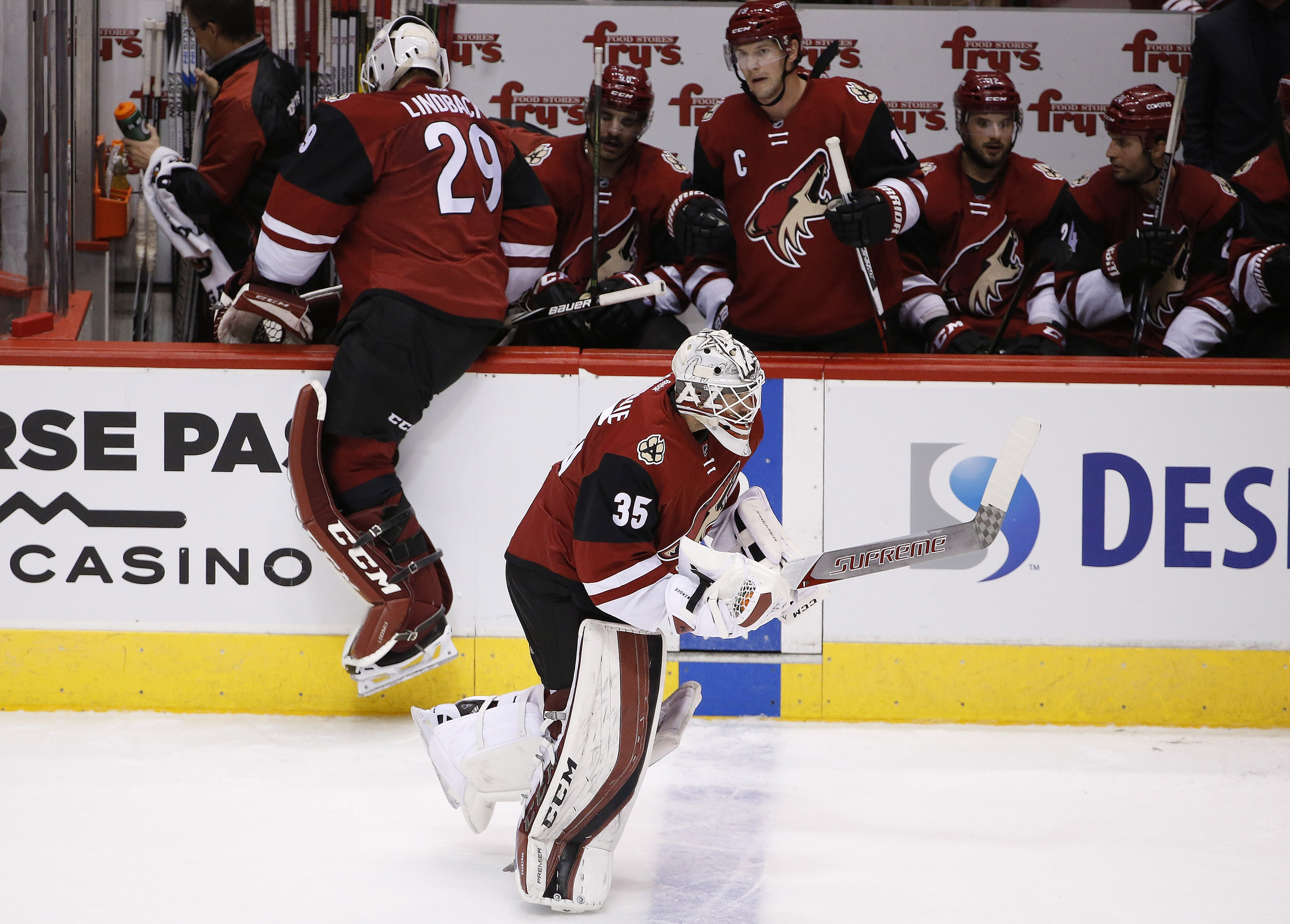 Arizona Coyotes' Louis Domingue (35) replaces Anders Lindback (29), of Sweden, during the second period of an NHL hockey game against the Columbus Blue Jackets, Thursday, Dec. 17, 2015, in Glendale, Ariz. (AP Photo/Ross D. Franklin)