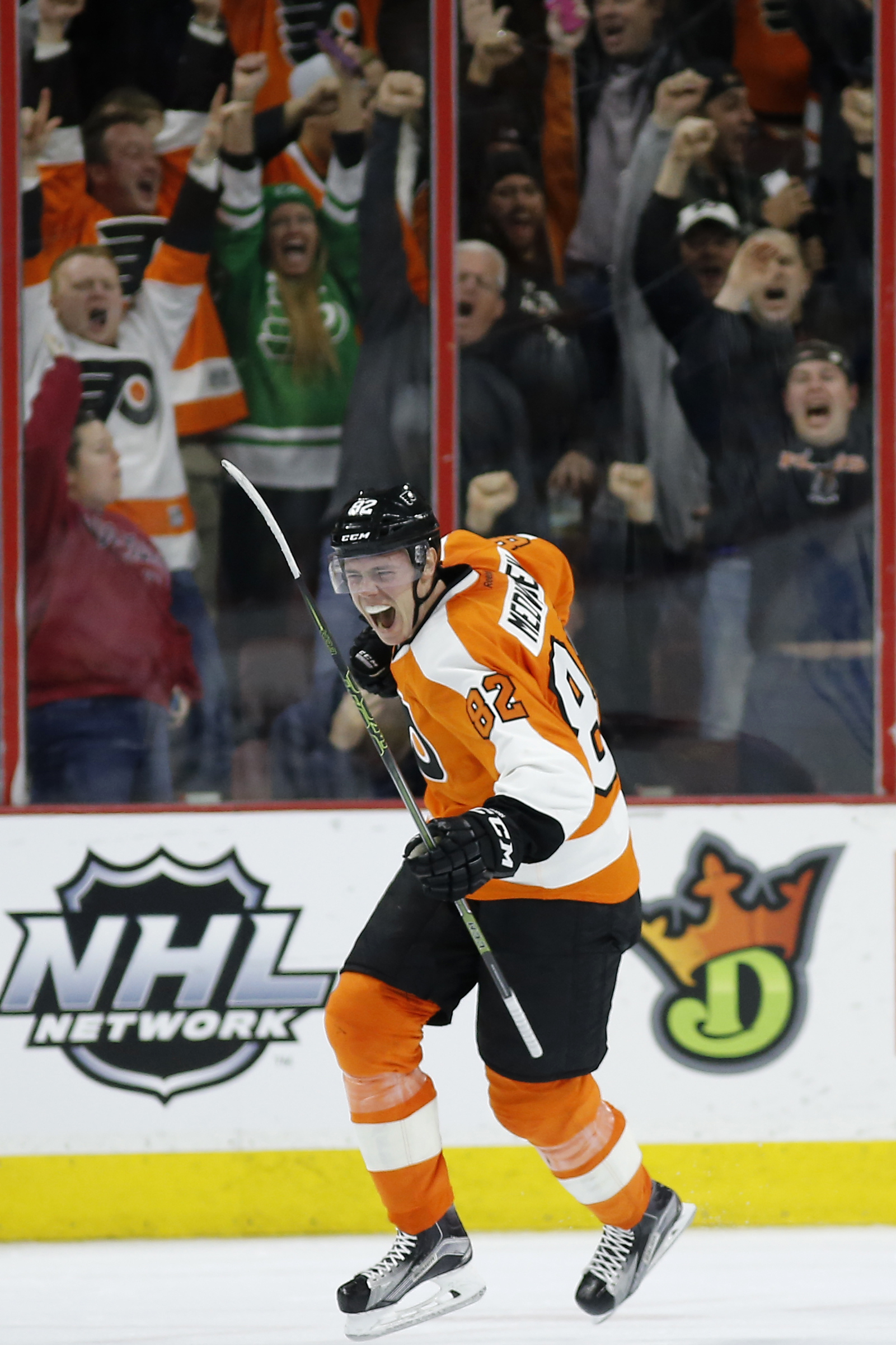 Philadelphia Flyers' Evgeny Medvedev reacts after scoring the go-ahead goal during the third period of an NHL hockey game against the St. Louis Blues, Monday, Dec. 21, 2015, in Philadelphia. Philadelphia won 4-3. (AP Photo/Matt Slocum)