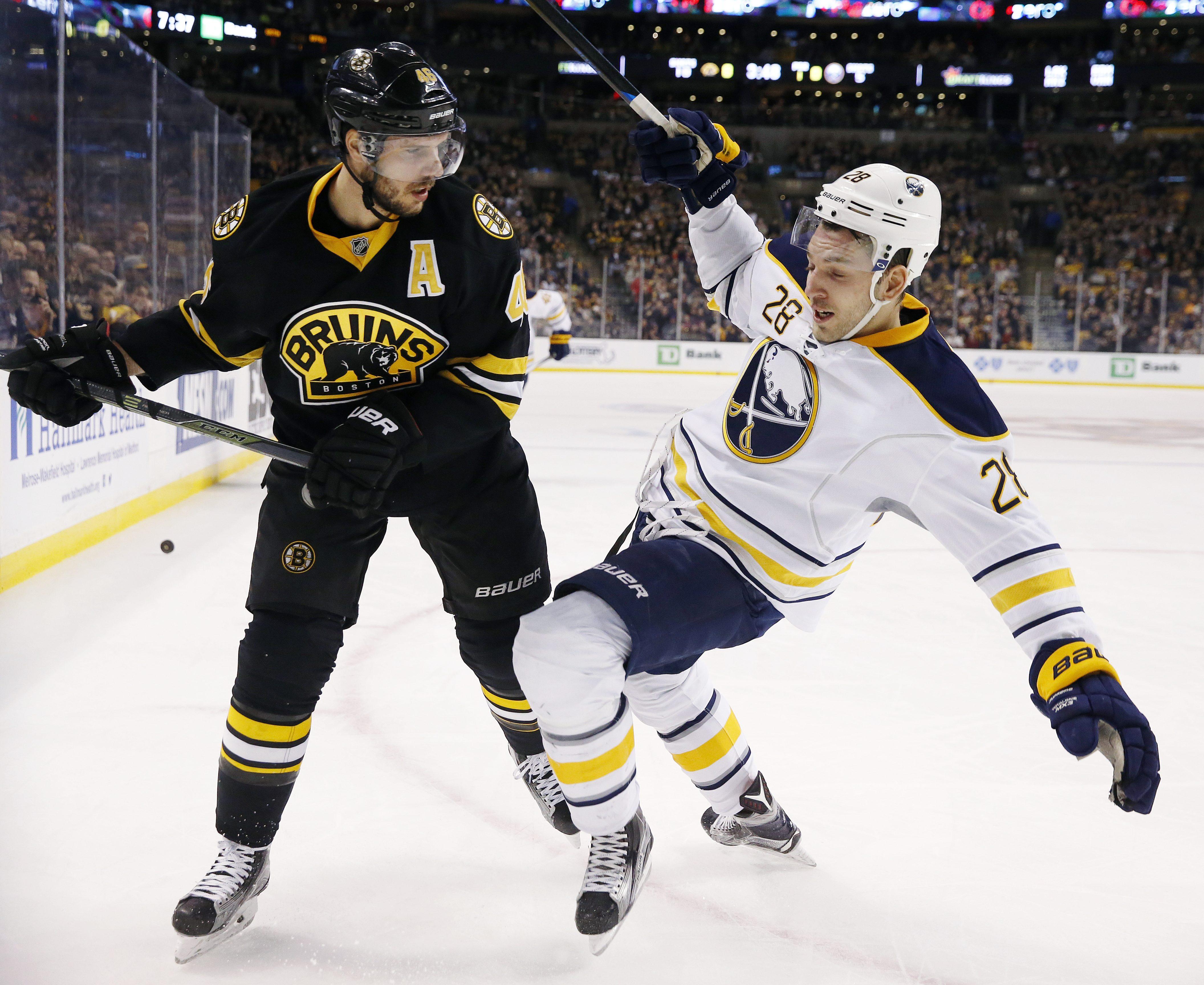 Boston Bruins' David Krejci (46) checks Buffalo Sabres' Zemgus Girgensons (28) during the first period of an NHL hockey game in Boston, Saturday, Dec. 26, 2015. (AP Photo/Michael Dwyer)