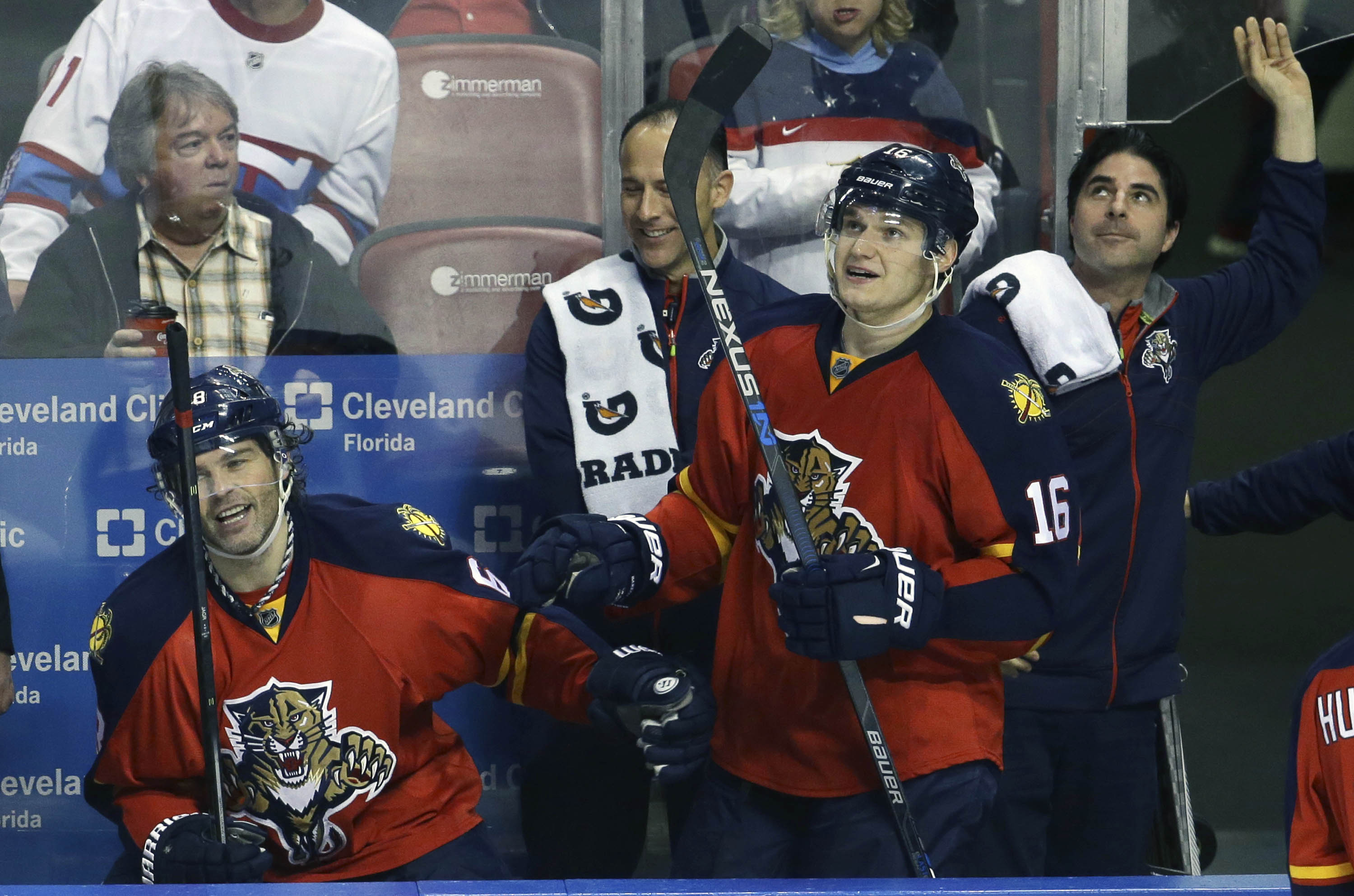 Florida Panthers right wing Jaromir Jagr, left, is congratulated by center Aleksander Barkov (16) after scoring a goal during the second period of an NHL hockey game against the Montreal Canadiens, Tuesday, Dec. 29, 2015, in Sunrise, Fla. (AP Photo/Lynne