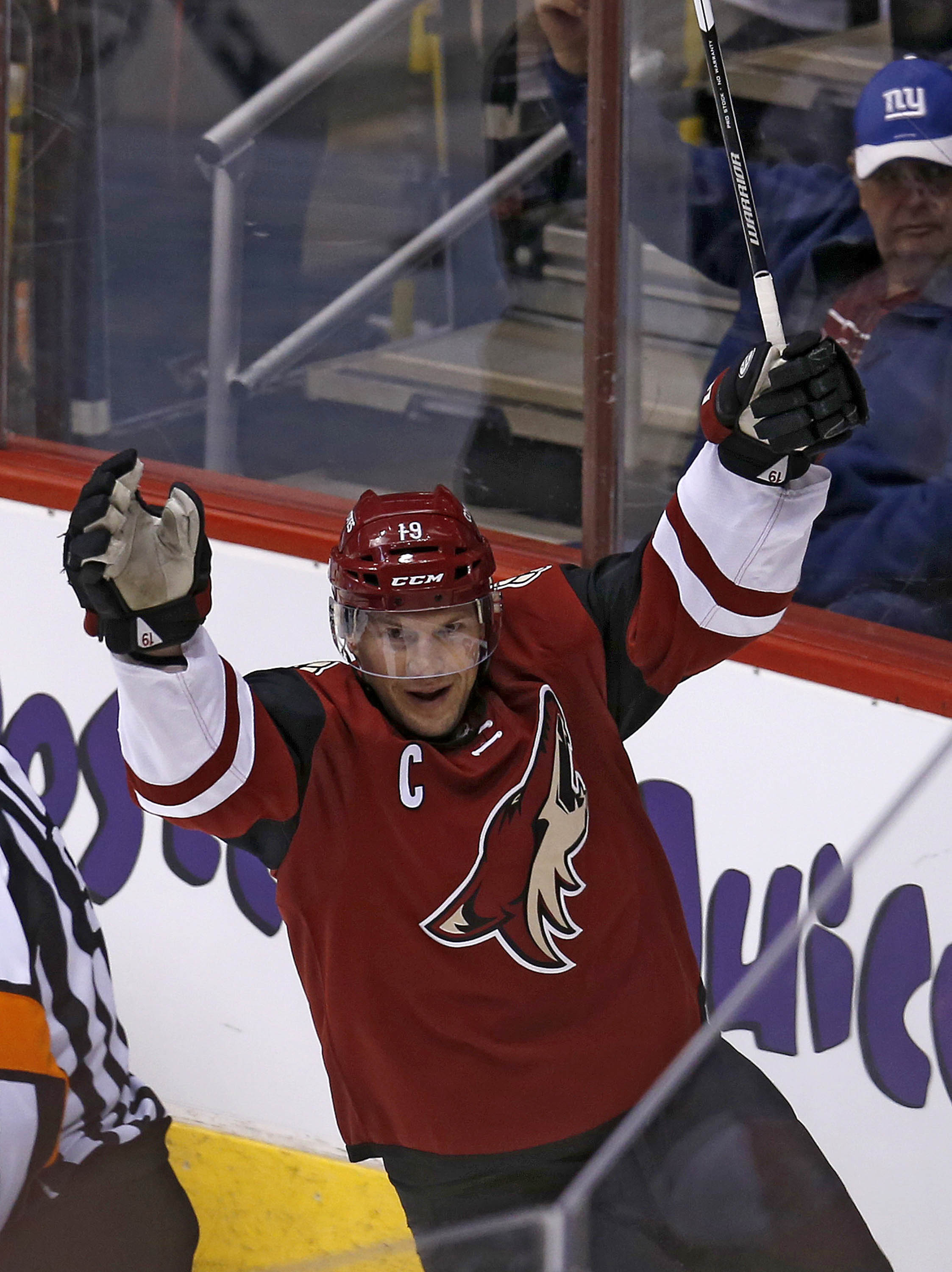 Arizona Coyotes right wing Shane Doan scores a goal in the first period during an NHL hockey game against Winnipeg Jets, Thiursday, Dec. 31, 2015, in Glendale, Ariz. Doan becomes the all time franchise scoring leader with his 380th goal. (AP Photo/Rick Sc