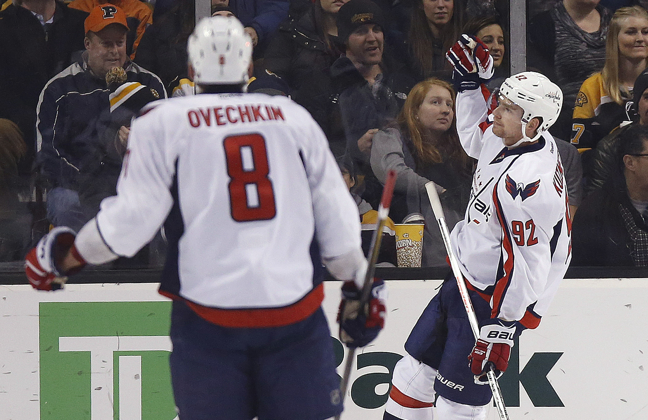 Washington Capitals' Evgeny Kuznetsov (92) celebrates his goal as teammate Alex Ovechkin (8) watches during the second period of an NHL hockey game against the Boston Bruins in Boston, Tuesday, Jan. 5, 2016. The Capitals won 3-2. (AP Photo/Michael Dwyer)