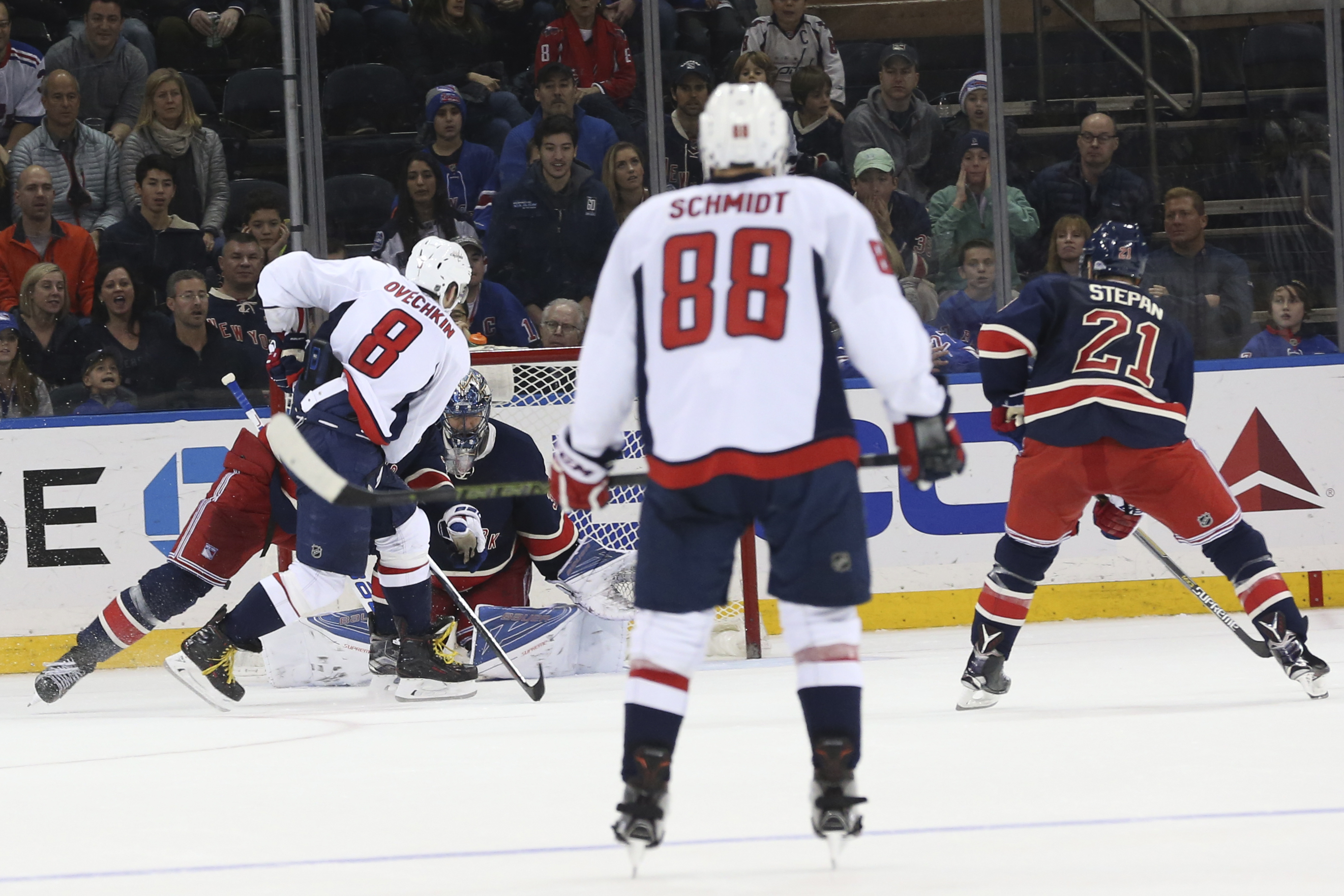 Washington Capitals left wing Alex Ovechkin (8) scores the winning goal during overtime of an NHL hockey game against the New York Rangers, Saturday, Jan. 9, 2016, at Madison Square Garden in New York. The Capitals won 4-3. (AP Photo/Mary Altaffer)