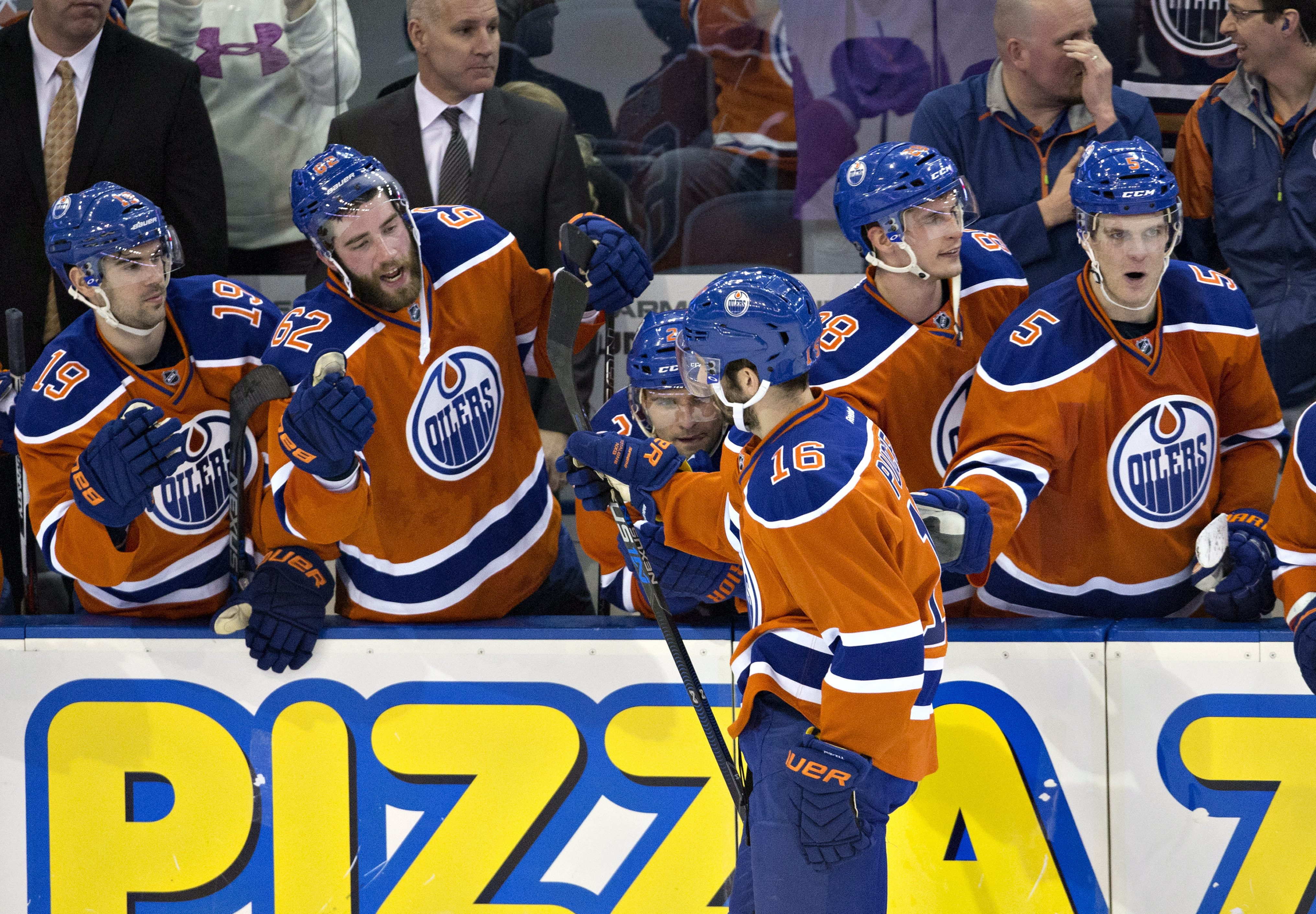 Edmonton Oilers' Teddy Purcell (16) celebrates his shootout goal against the Calgary Flames during an NHL hockey game in Edmonton, Alberta, Saturday, Jan. 16, 2016. (Jason Franson/The Canadian Press via AP) MANDATORY CREDIT