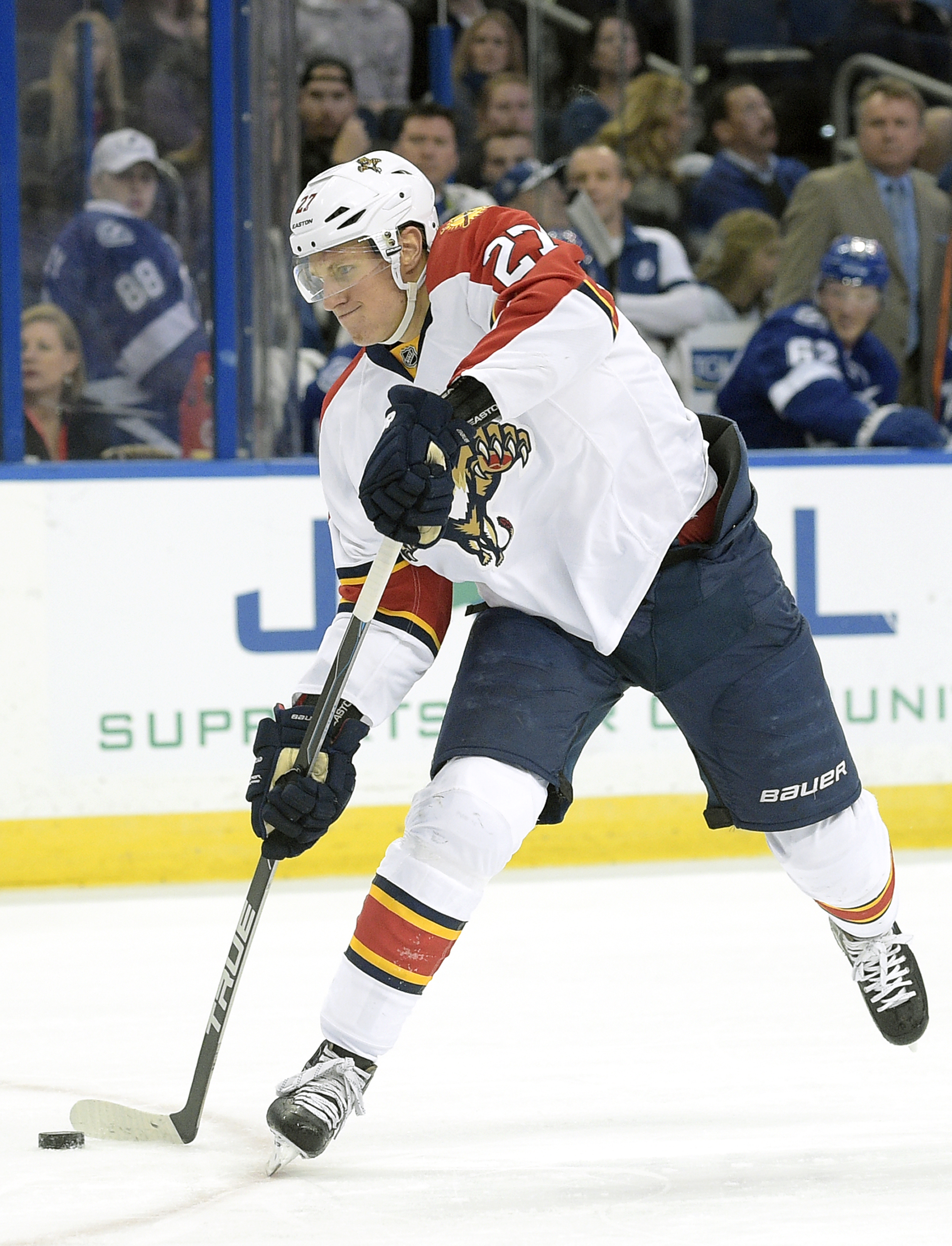 Florida Panthers center Nick Bjugstad attempts a shot during the first period of an NHL hockey game against the Tampa Bay Lightning in Tampa, Fla., Sunday, Jan. 17, 2016. (AP Photo/Phelan M. Ebenhack)