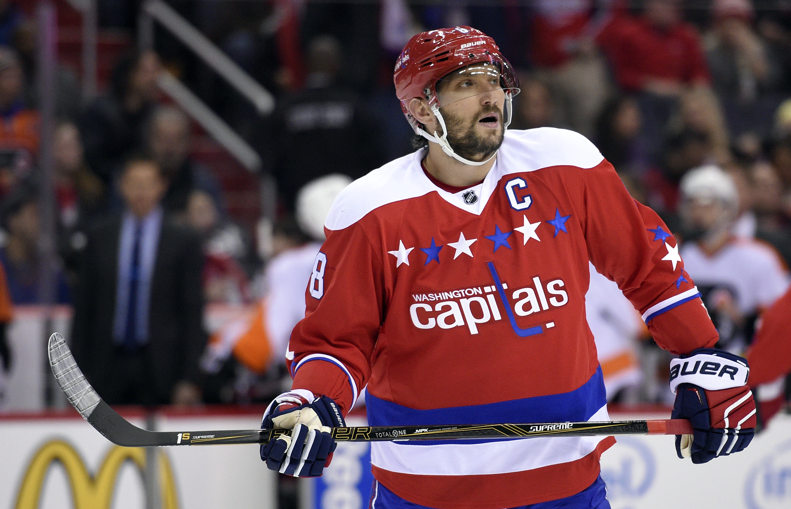 FILE - In this Jan. 27, 2016, file photo, Washington Capitals left wing Alex Ovechkin (8), of Russia, looks on during the first period of an NHL hockey game against the Philadelphia Flyers in Washington. Ovechkin and the  Capitals lead the NHL with 73 poi