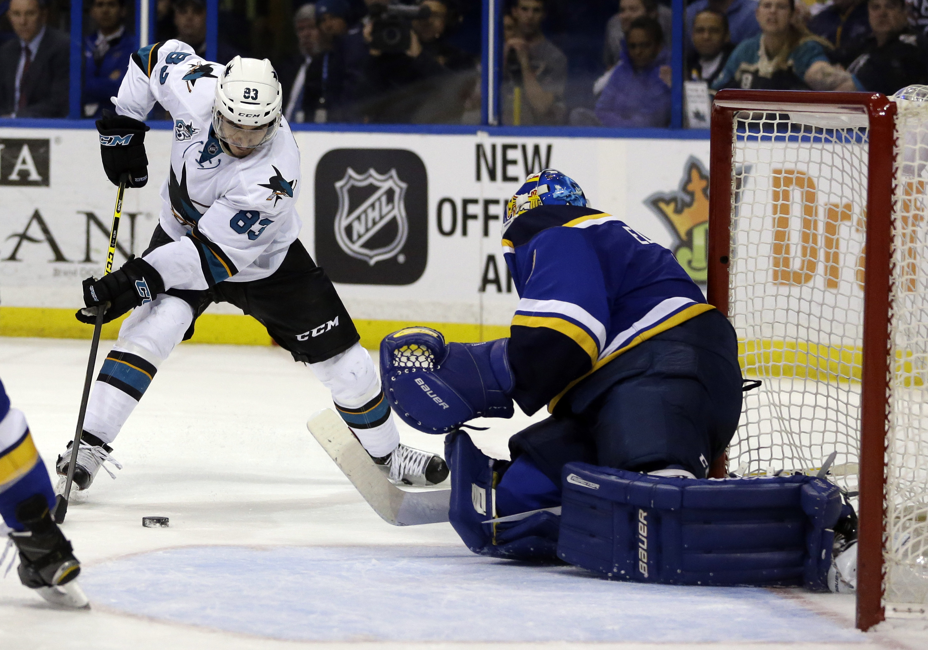 San Jose Sharks' Matt Nieto, left, prepares to score past St. Louis Blues goalie Brian Elliott during the third period of an NHL hockey game Thursday, Feb. 4, 2016, in St. Louis. The Sharks won 3-1. (AP Photo/Jeff Roberson)