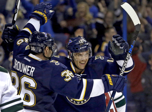 St. Louis Blues' Jori Lehtera, of Finland, is congratulated by Troy Brouwer, left, after scoring during the second period of an NHL hockey game against the Minnesota Wild Saturday, Feb. 6, 2016, in St. Louis. (AP Photo/Jeff Roberson)