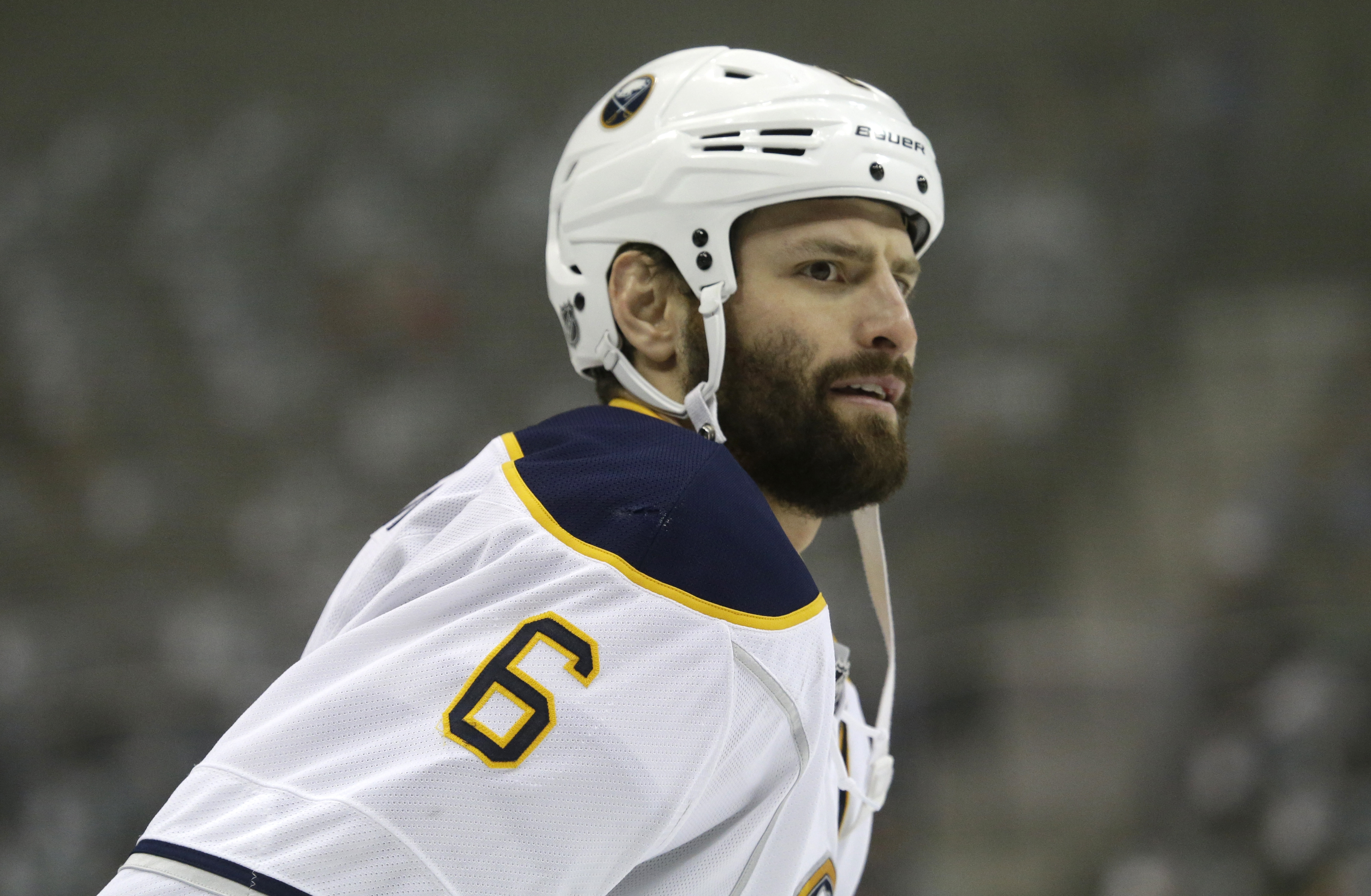 Buffalo Sabres defenseman Mike Weber (6) skates the ice during during warm ups before an NHL hockey game Monday, March 23, 2015, in Dallas. (AP Photo/LM Otero)