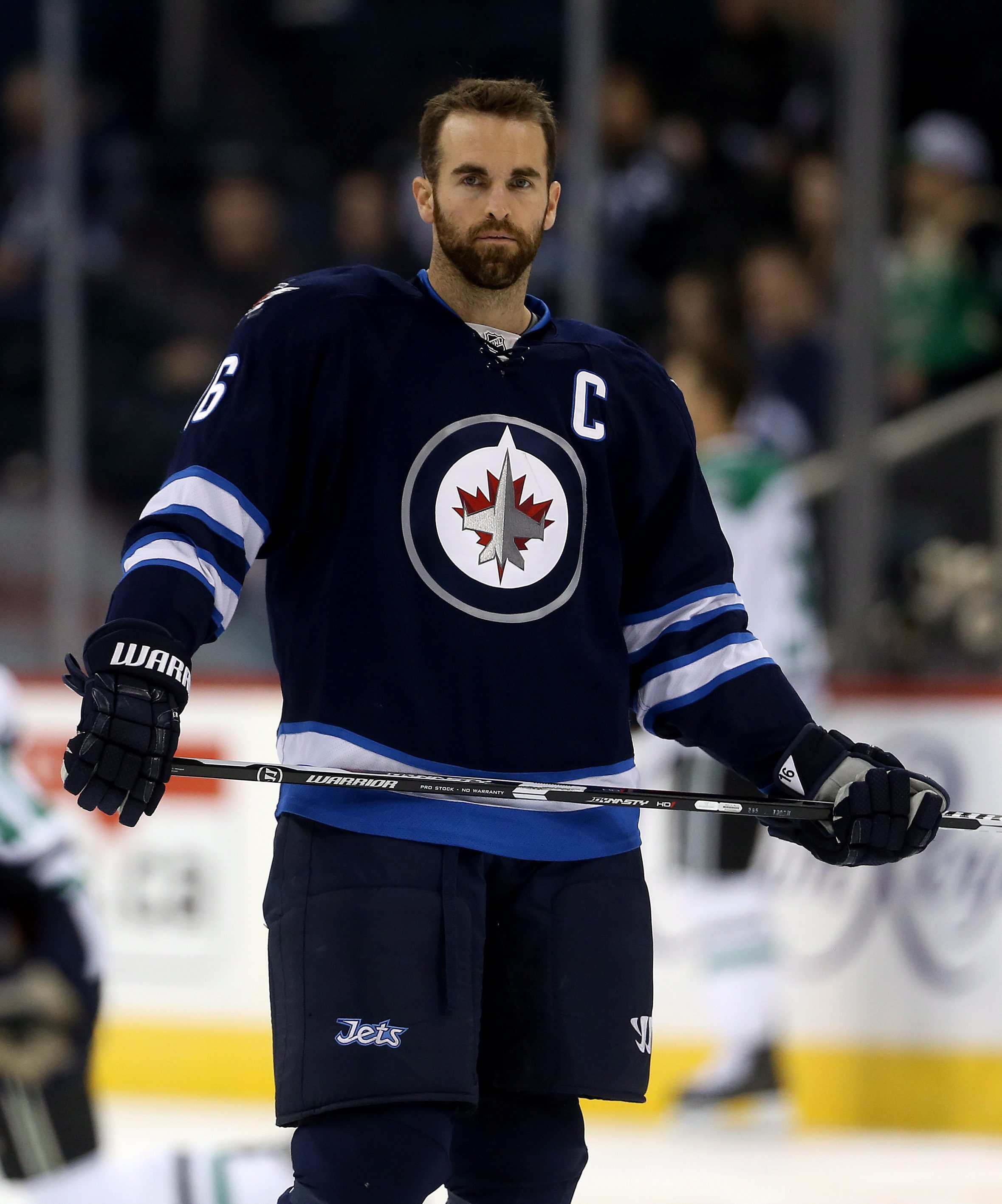Winnipeg Jets' Andrew Ladd (16)warms up as the Jets prepare to play the Dallas Stars in an NHL hockey game Tuesday, Feb. 23, 2016, in Winnipeg, Manitoba. (Trevor Hagan/The Canadian Press via AP)