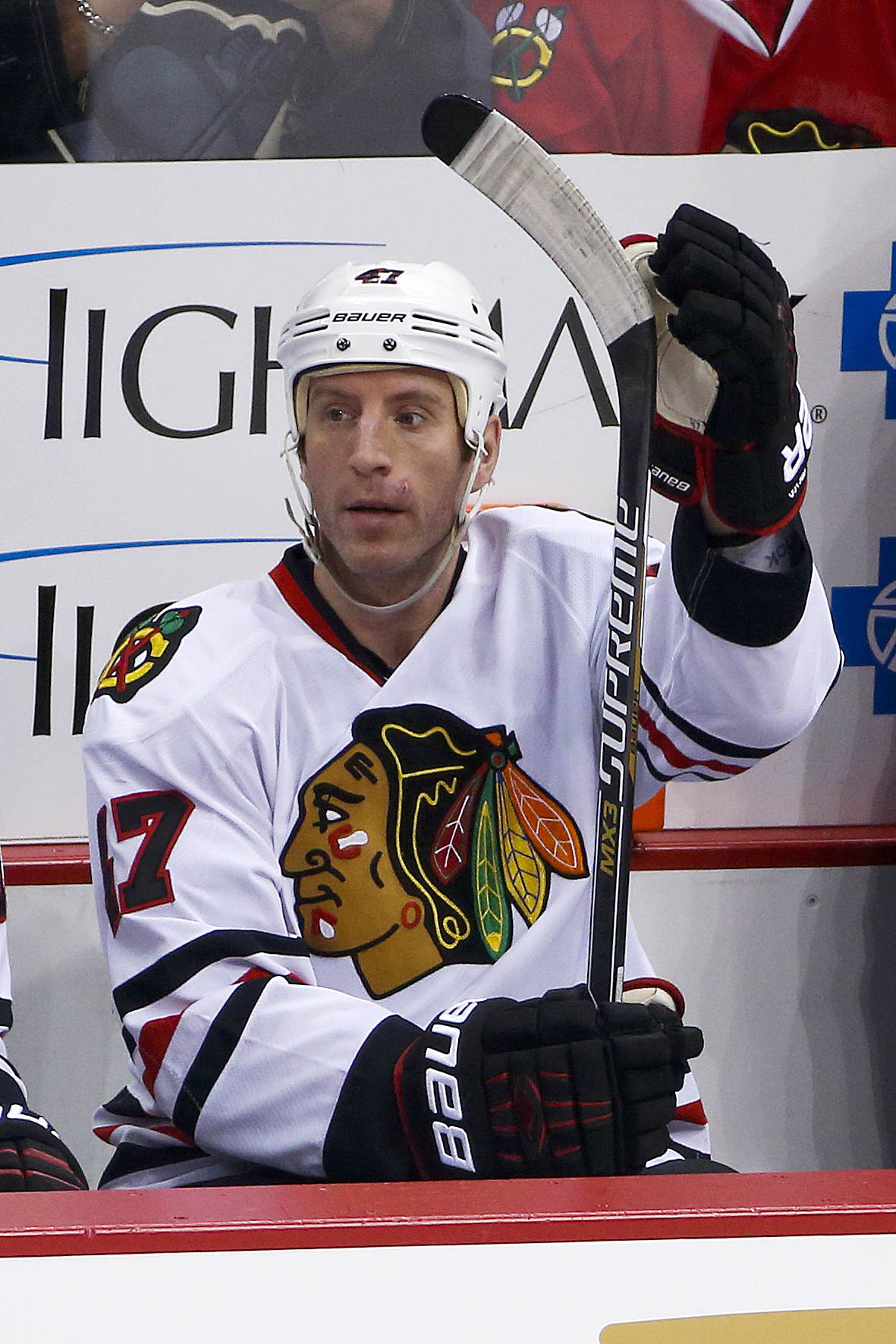 Chicago Blackhawks' Rob Scuderi (47) sits on the bench during an NHL hockey game against the Pittsburgh Penguins in Pittsburgh, Tuesday, Jan. 5, 2016. (AP Photo/Gene J. Puskar)