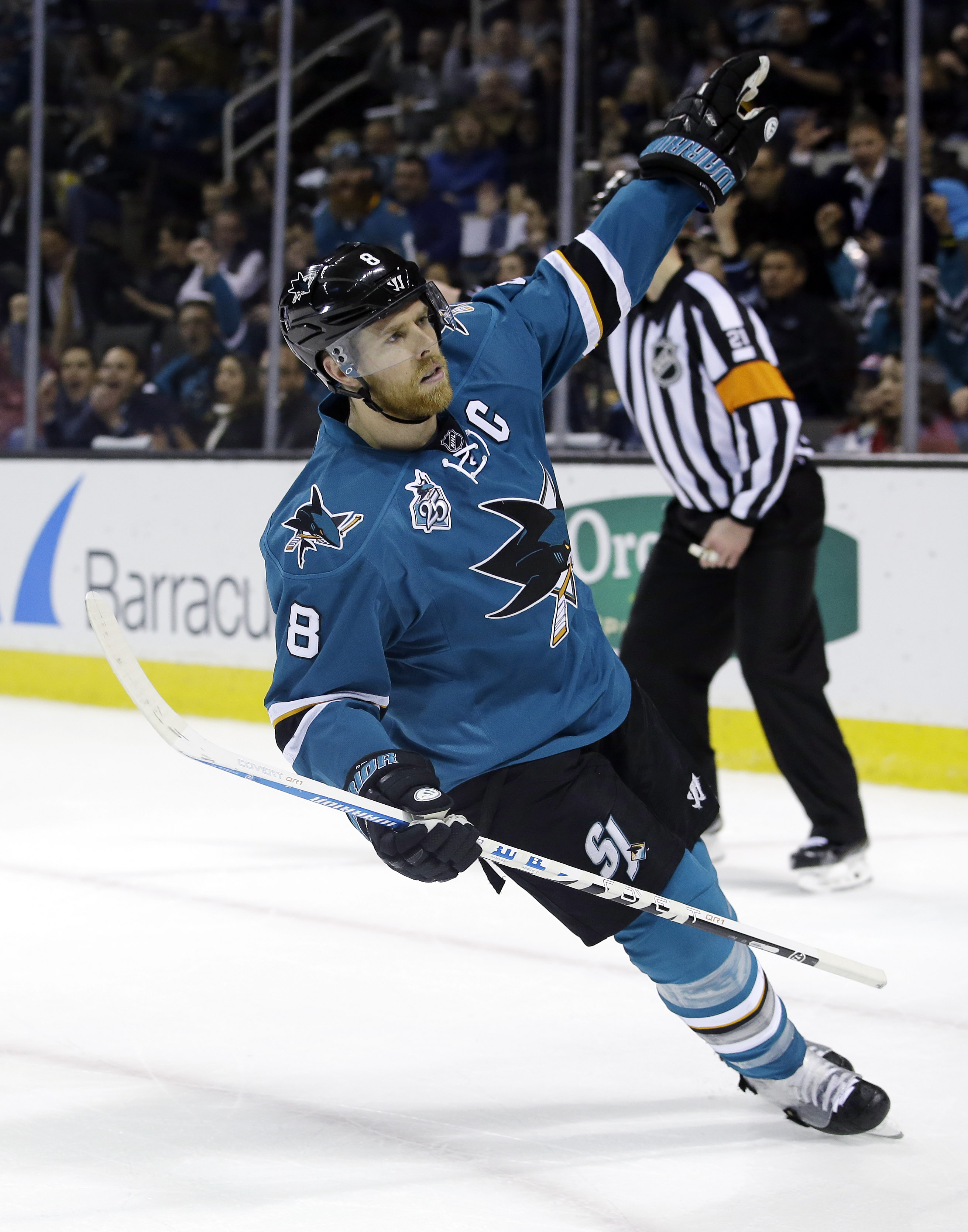 San Jose Sharks' Joe Pavelski (8) celebrates after scoring against the Montreal Canadiens during the first period of an NHL hockey game Monday, Feb. 29, 2016, in San Jose, Calif. (AP Photo/Marcio Jose Sanchez)