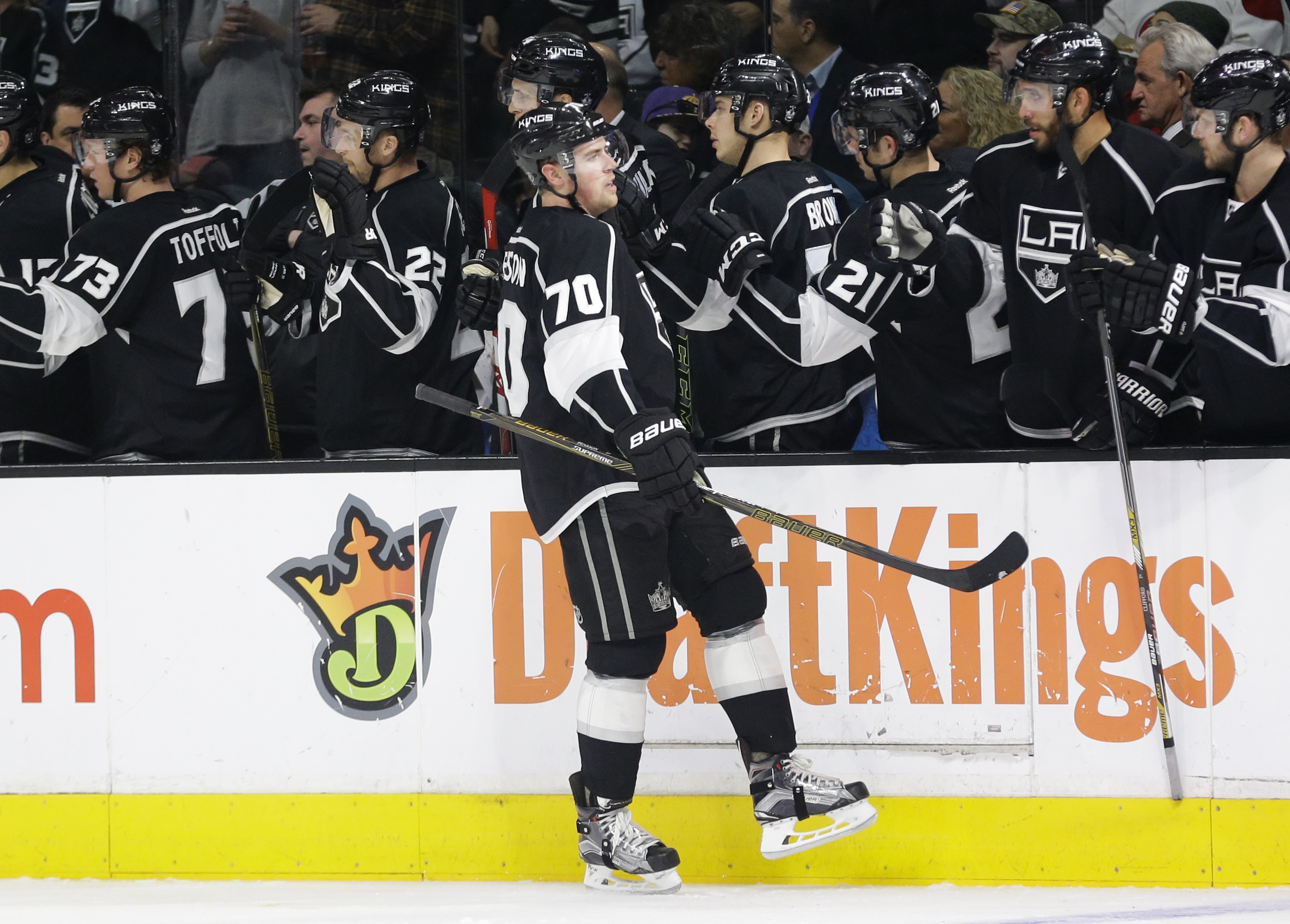 Los Angeles Kings' Tanner Pearson celebrates his goal with teammates during the first period of an NHL hockey game against the Montreal Canadiens, Thursday, March 3, 2016, in Los Angeles. (AP Photo/Jae C. Hong)