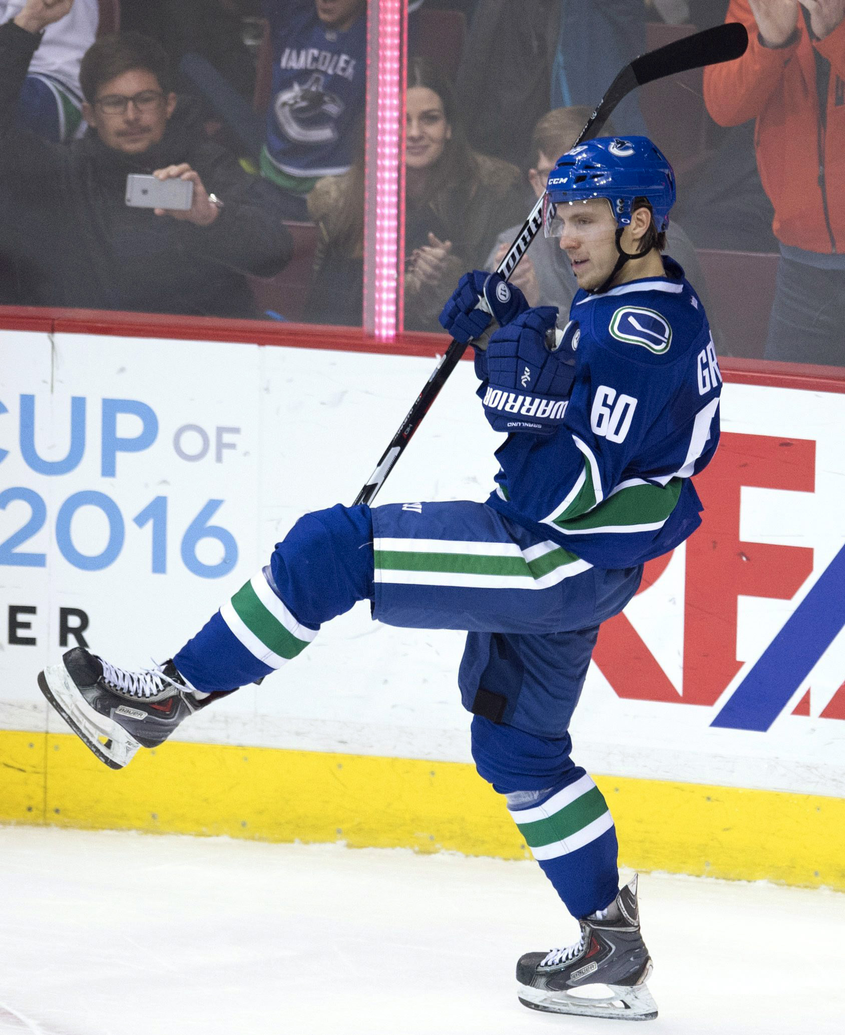 Vancouver Canucks center Markus Granlund celebrates his overtime goal against the Arizona Coyotes during an NHL hockey game Wednesday, March 9, 2016, in Vancouver, British Columbia. (Jonathan Hayward/The Canadian Press via AP)