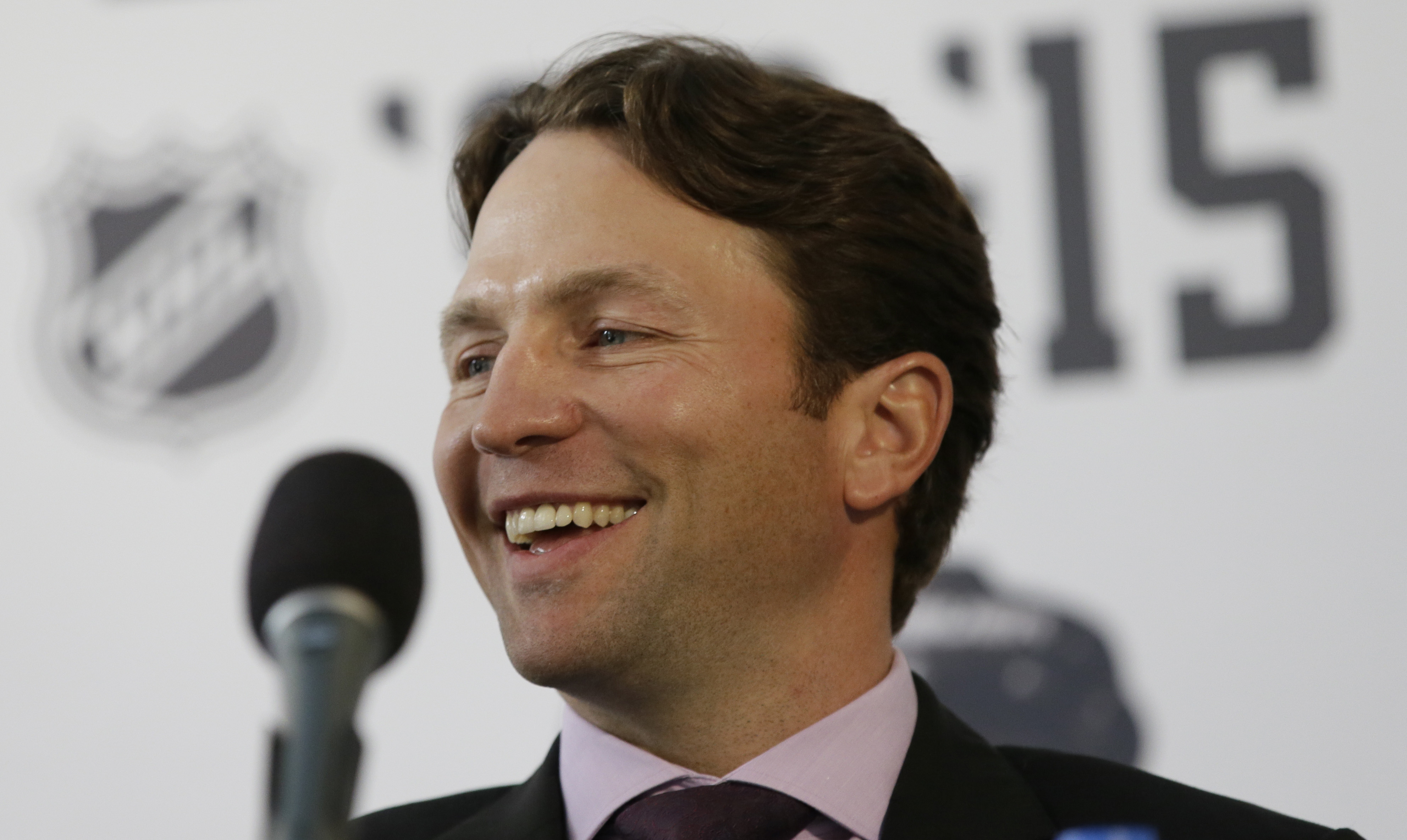 Dallas Stars Brendan Morrow smiles during his retirement news conference Thursday, March 17, 2016, in Dallas. Morrow is retiring after a 15-year career that started and ended with trips to the Stanley Cup finals, but without a title. He'll retire with the