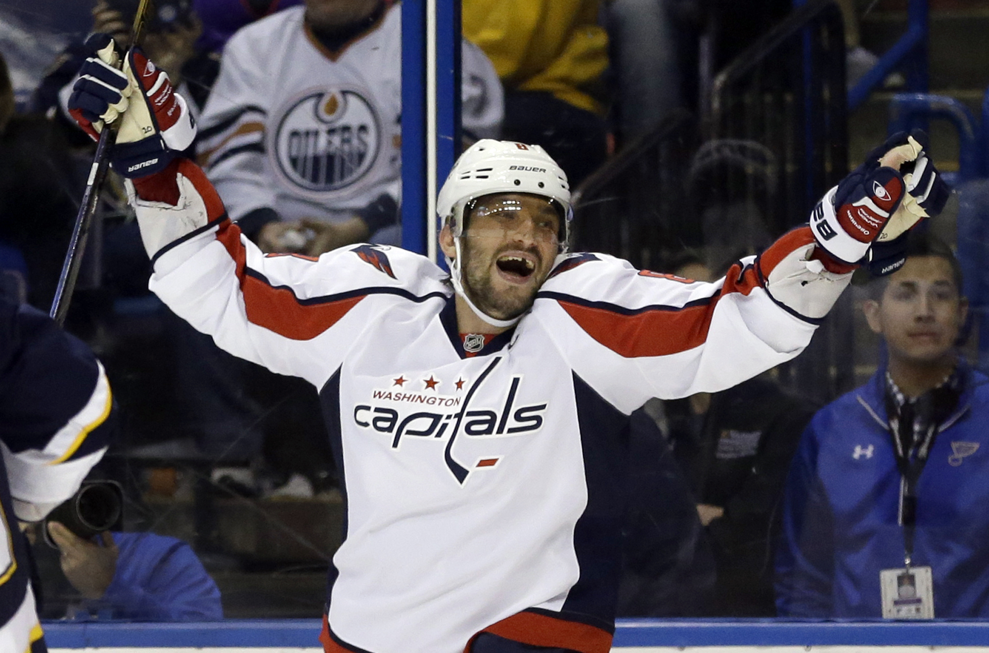 FILE - In this Saturday, April 9, 2016 file photo, Washington Capitals' Alex Ovechkin, of Russia, celebrates after scoring his third goal of an NHL hockey game during the third period against the St. Louis Blues in St. Louis. Expectations have never been