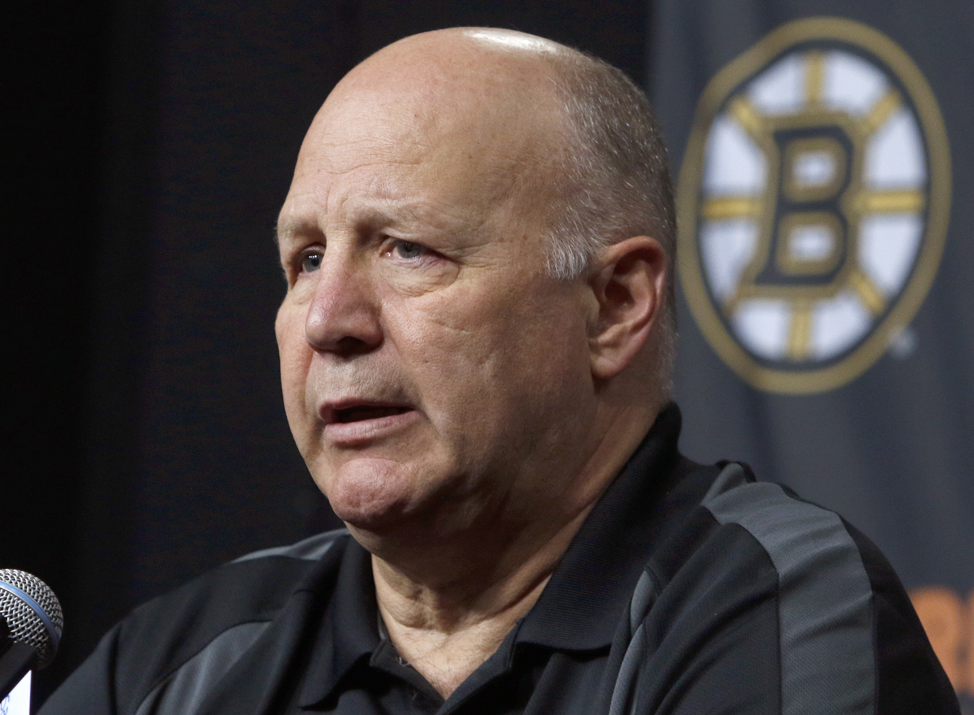 Boston Bruins head coach Claude Julien speaks at a news conference at TD Garden Thursday, April 14, 2016, in Boston. The Bruins failed to reach the playoffs for the second straight year. (AP Photo/Bill Sikes)