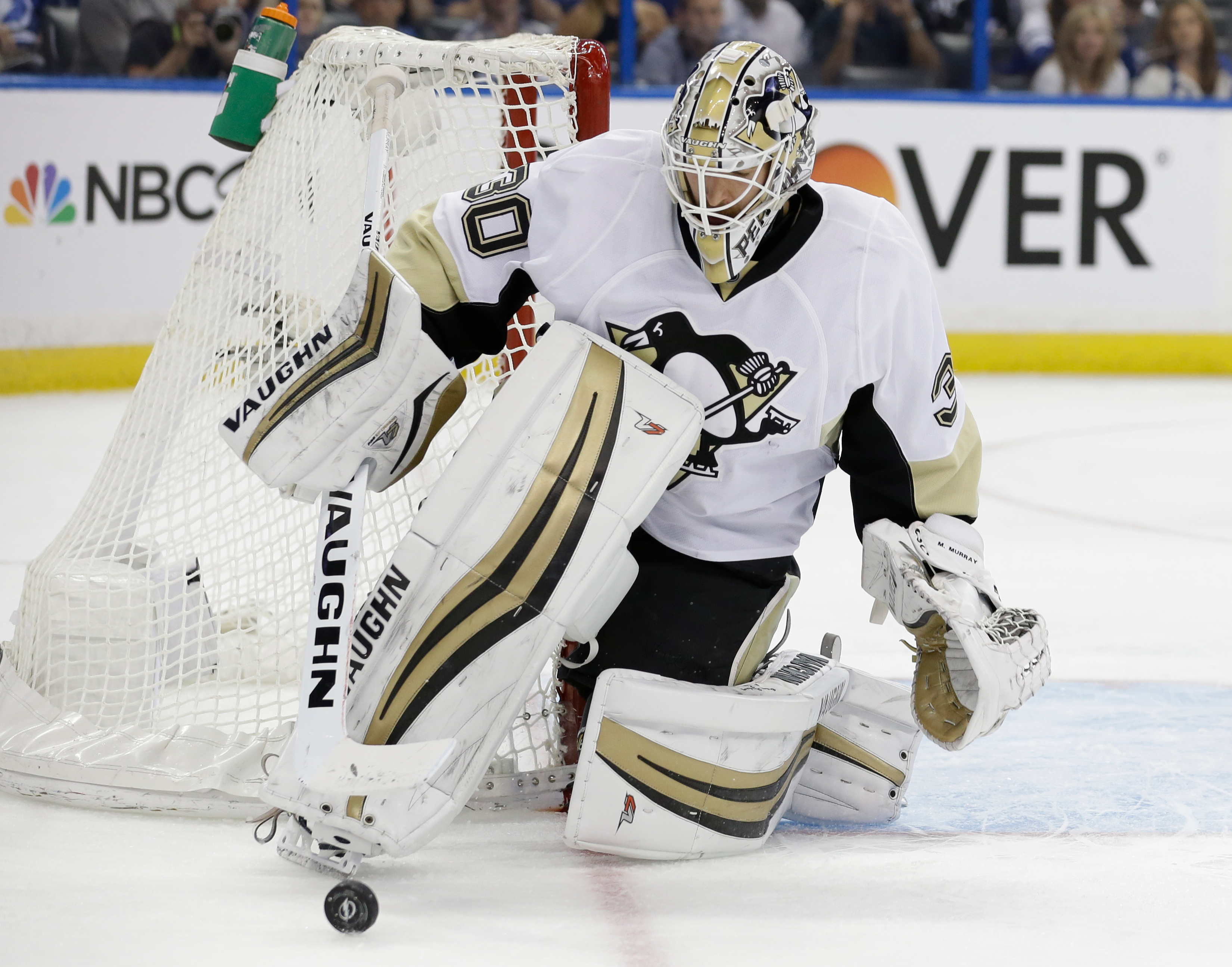 Pittsburgh Penguins goalie Matt Murray blocks a shot by the Tampa Bay Lightning during the second period of Game 4 of the NHL hockey Stanley Cup Eastern Conference finals Friday, May 20, 2016, in Tampa, Fla. (AP Photo/Chris O'Meara)
