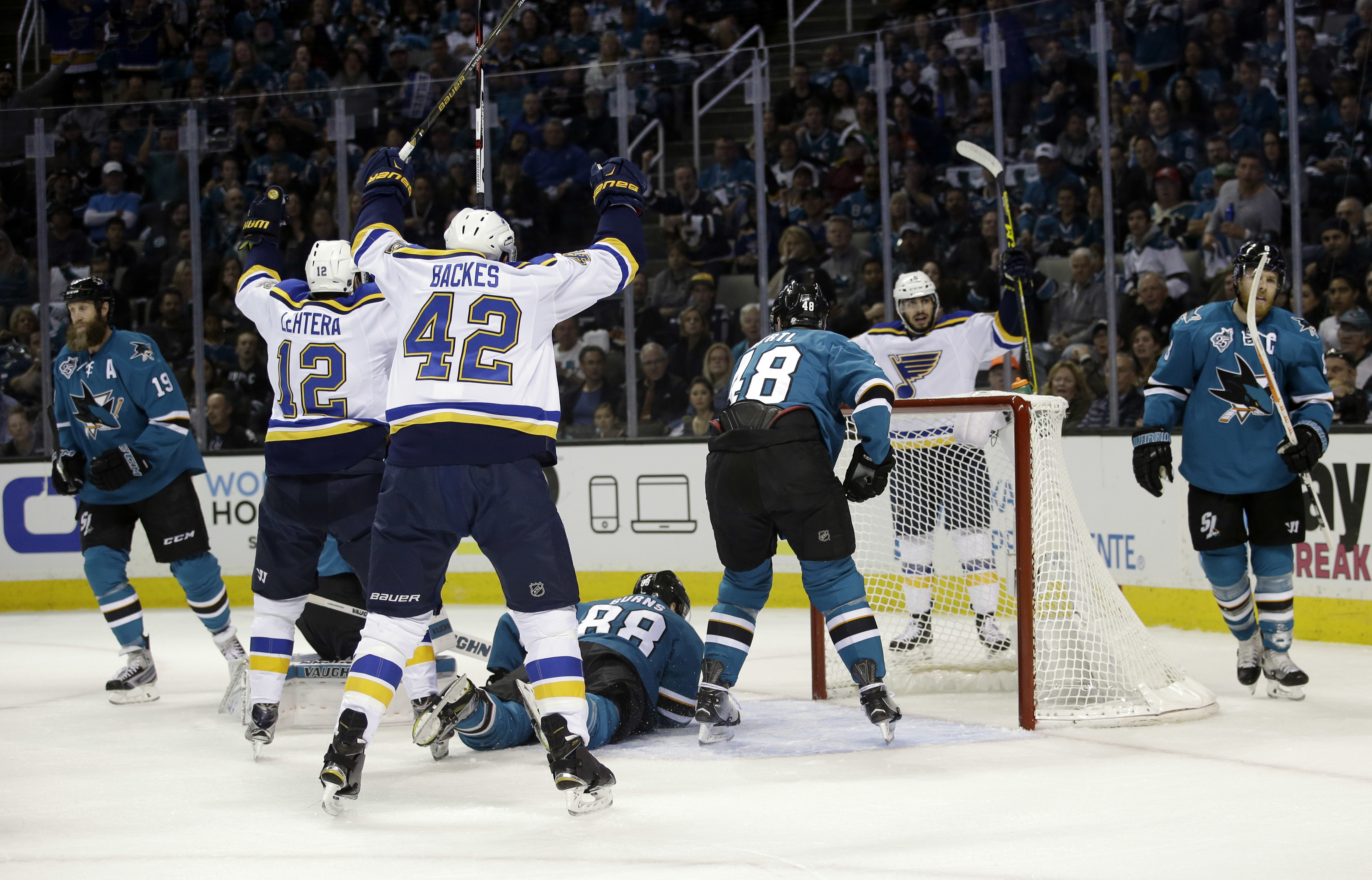 St. Louis Blues' Jori Lehtera (12) celebrates after scoring against the San Jose Sharks during the first period in Game 4 of the NHL hockey Stanley Cup Western Conference finals Saturday, May 21, 2016, in San Jose, Calif. (AP Photo/Marcio Jose Sanchez)