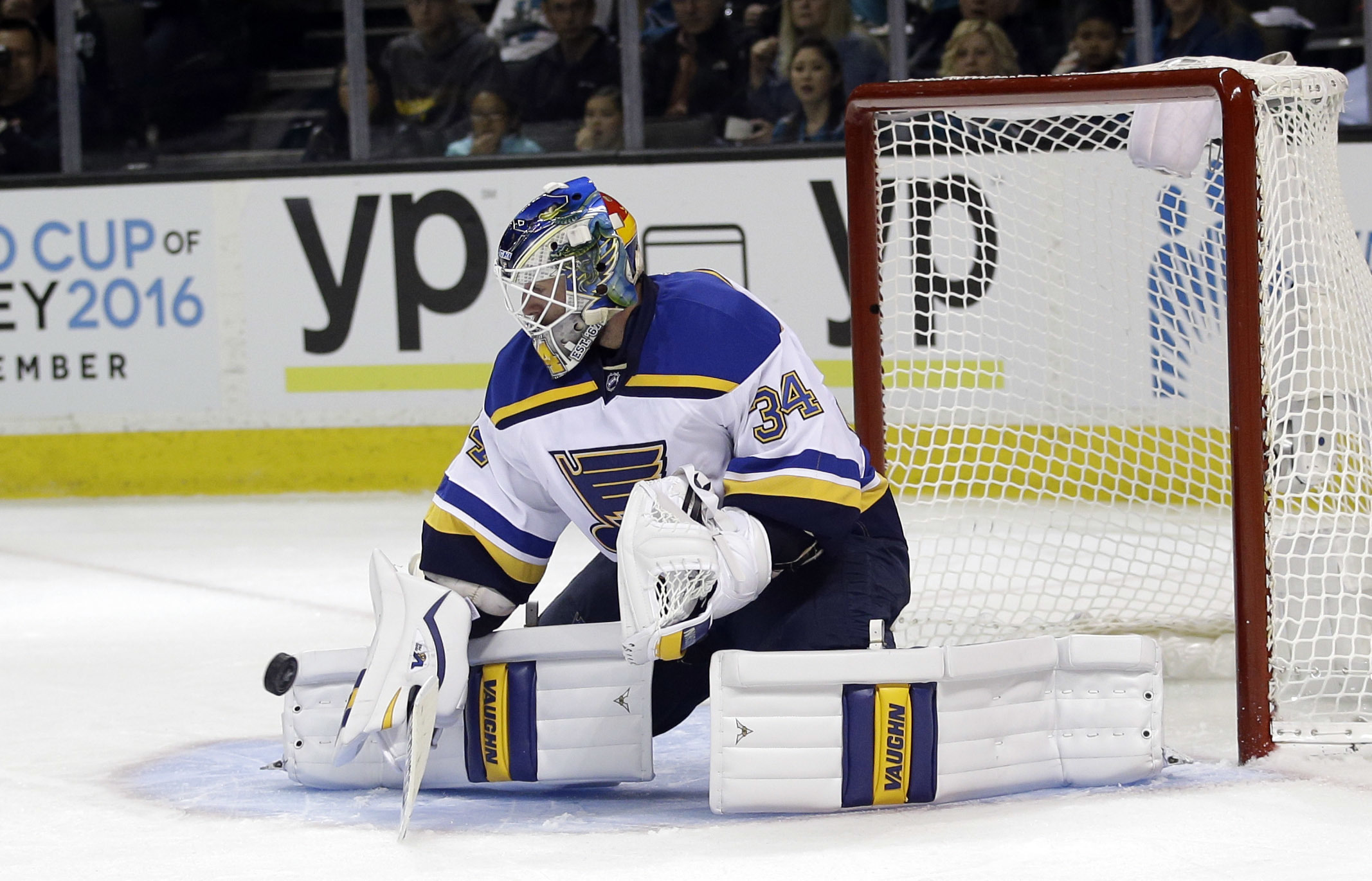 St. Louis Blues goalie Jake Allen stops a shot during the second period in Game 4 of the NHL hockey Stanley Cup Western Conference finals against the San Jose Sharks on Saturday, May 21, 2016, in San Jose, Calif. (AP Photo/Marcio Jose Sanchez)