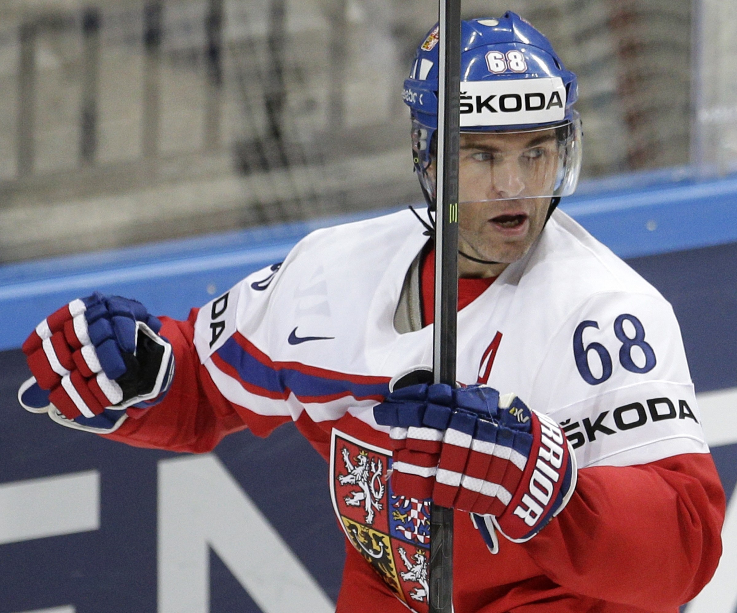 FILE - In this May 7, 2015, file photo, Czech Republic's Jaromir Jagr celebrates after scoring against France during the Hockey World Championships Group A match in Prague, Czech Republic. The Czech Republic will have to do without Jagr at the World Cup o