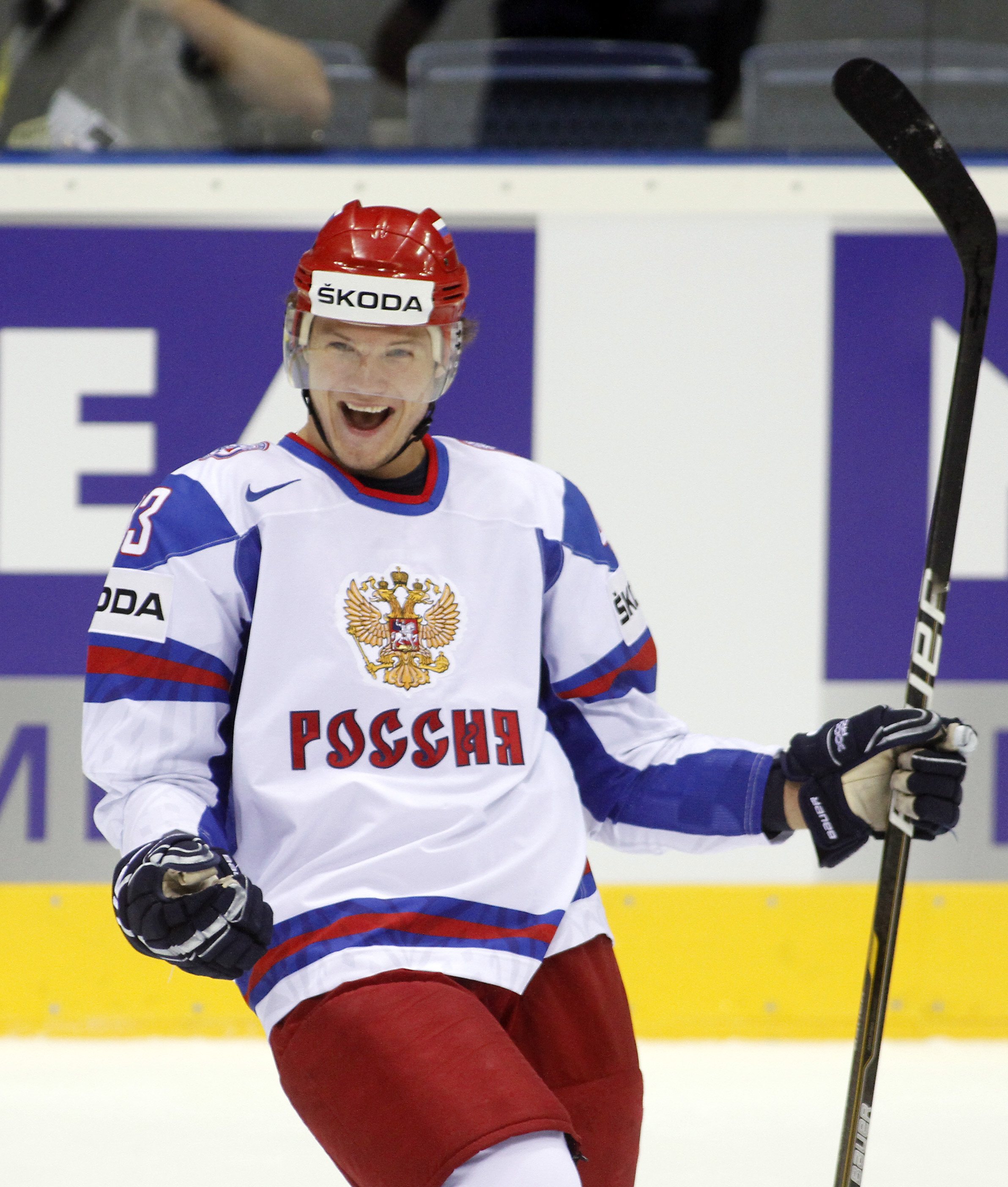 Russia's Dmitri Kulikov reacts after scoring aginst Czech Republic during the bronze medal  match of the World Hockey Championships in Bratislava, Slovakia, on Sunday, May 15,  2011. (AP Photo/Ronald Zak)