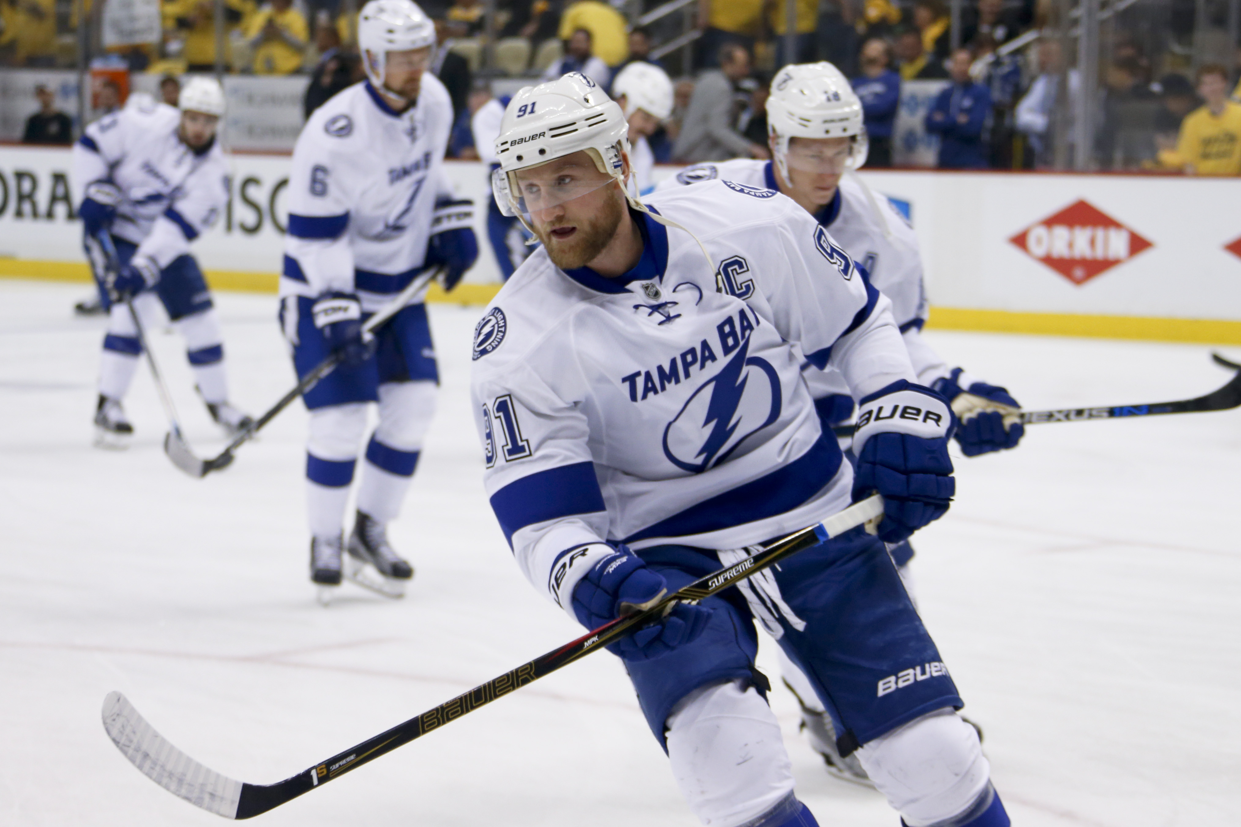 Tampa Bay Lightning's Steven Stamkos skates during a warmup skate before Game 7 of the NHL hockey Stanley Cup Eastern Conference Finals, Thursday, May 26, 2016, in Pittsburgh. Stamkos hasn't played in any playoff games this season. (AP Photo/Gene J. Puska