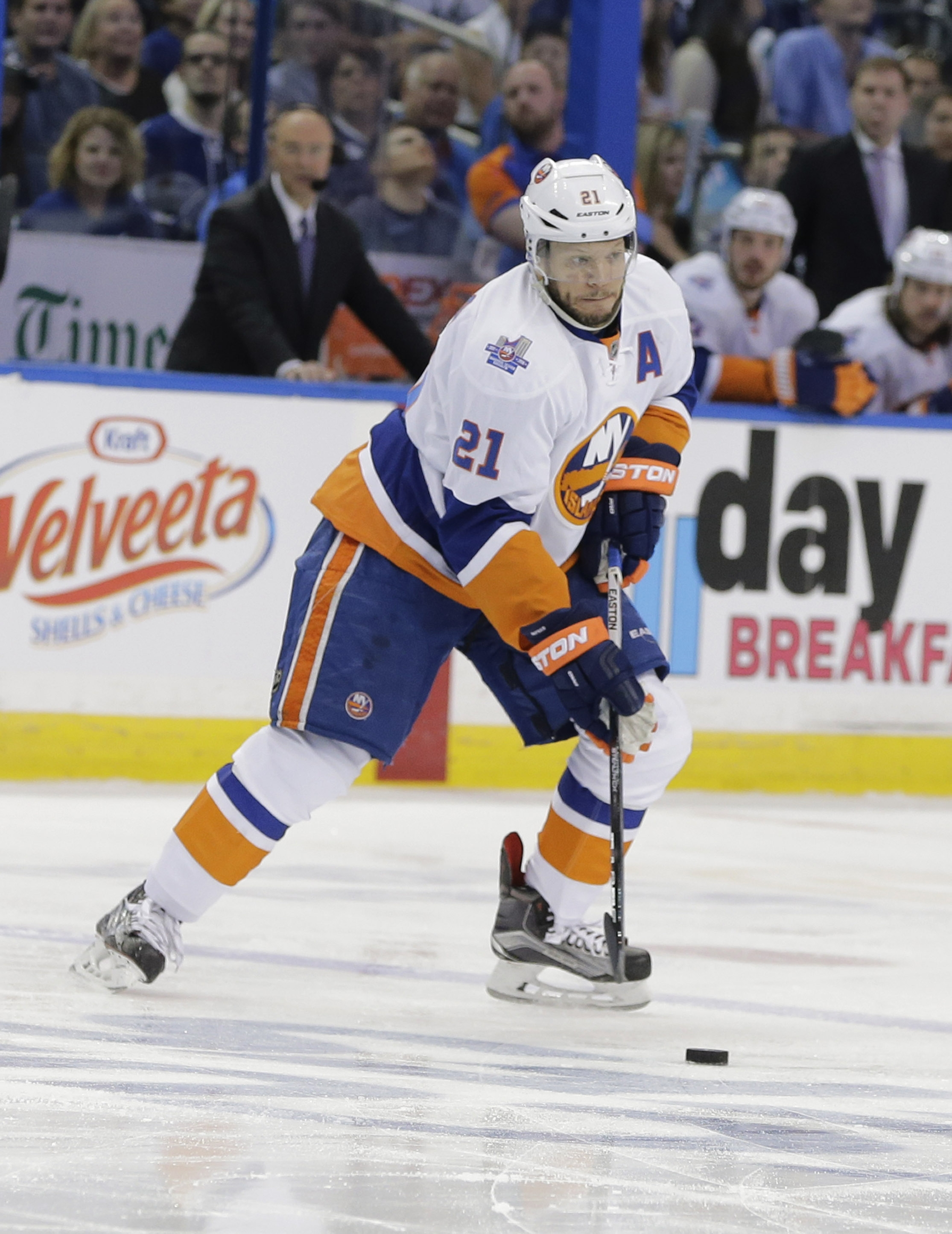 New York Islanders right wing Kyle Okposo (21) controls the puck during the first period of Game 5 of the NHL hockey Stanley Cup Eastern Conference semifinals  against the New York Islanders, Sunday, May 8, 2016, in Tampa, Fla. (AP Photo/Chris O'Meara)