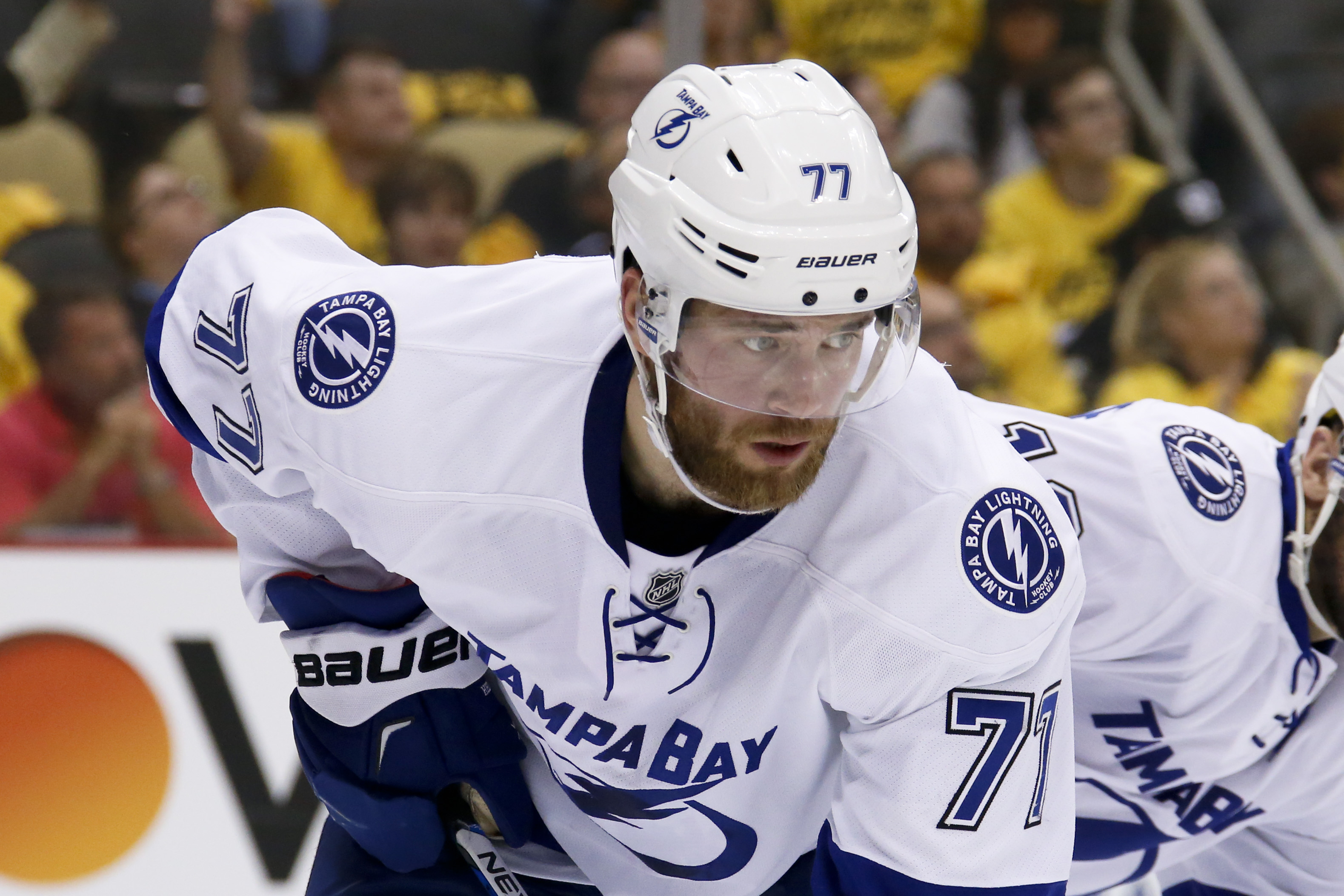 Tampa Bay Lightning's Victor Hedman (77) plays against the Pittsburgh Penguins during the second period of Game 7 of the NHL hockey Stanley Cup Eastern Conference finals, Thursday, May 26, 2016, in Pittsburgh. (AP Photo/Gene J. Puskar)