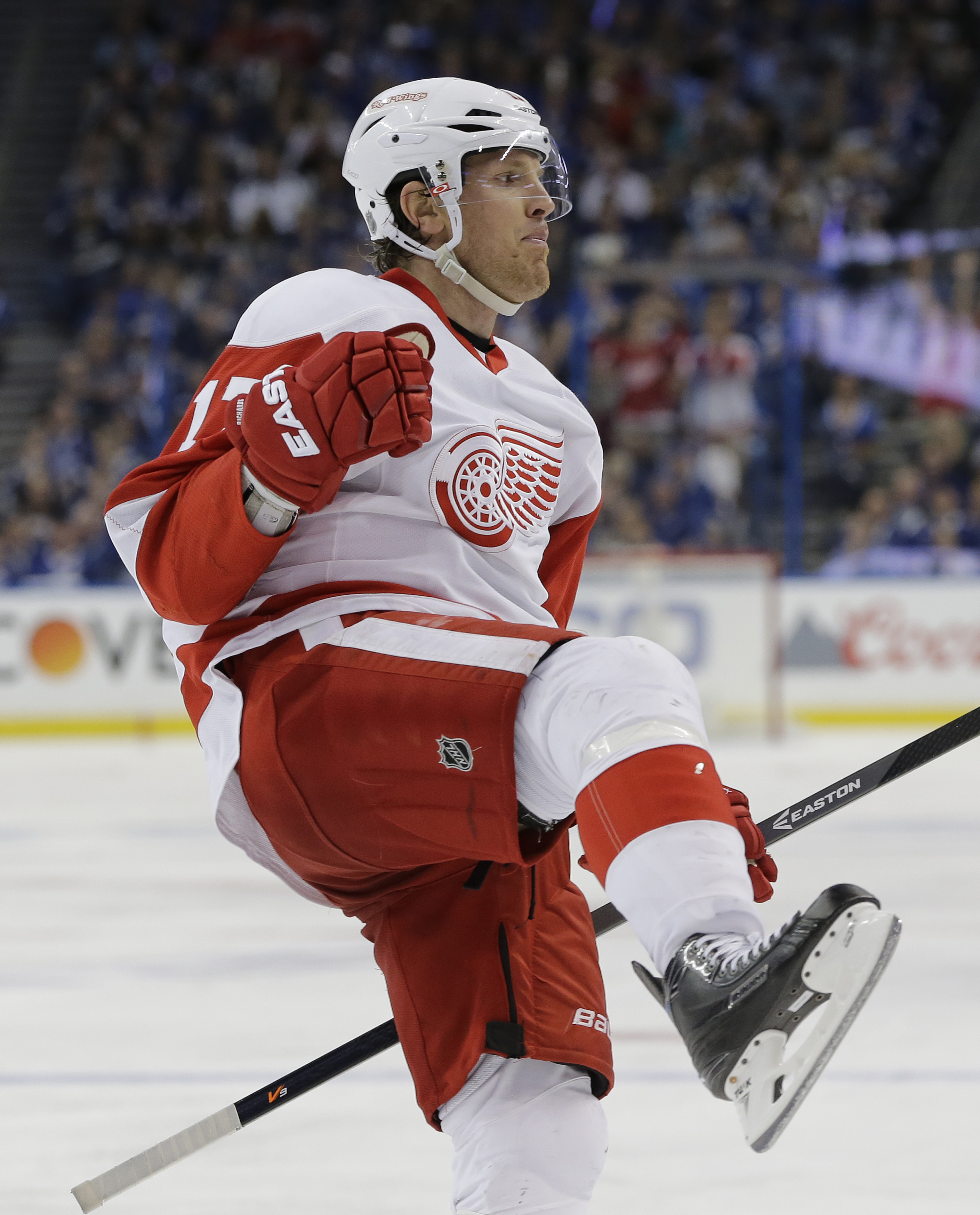 Detroit Red Wings center Brad Richards celebrates his goal against the Tampa Bay Lightning during the third period of Game 2 in a first-round NHL hockey Stanley Cup playoff series Friday, April 15, 2016, in Tampa, Fla. (AP Photo/Chris O'Meara)
