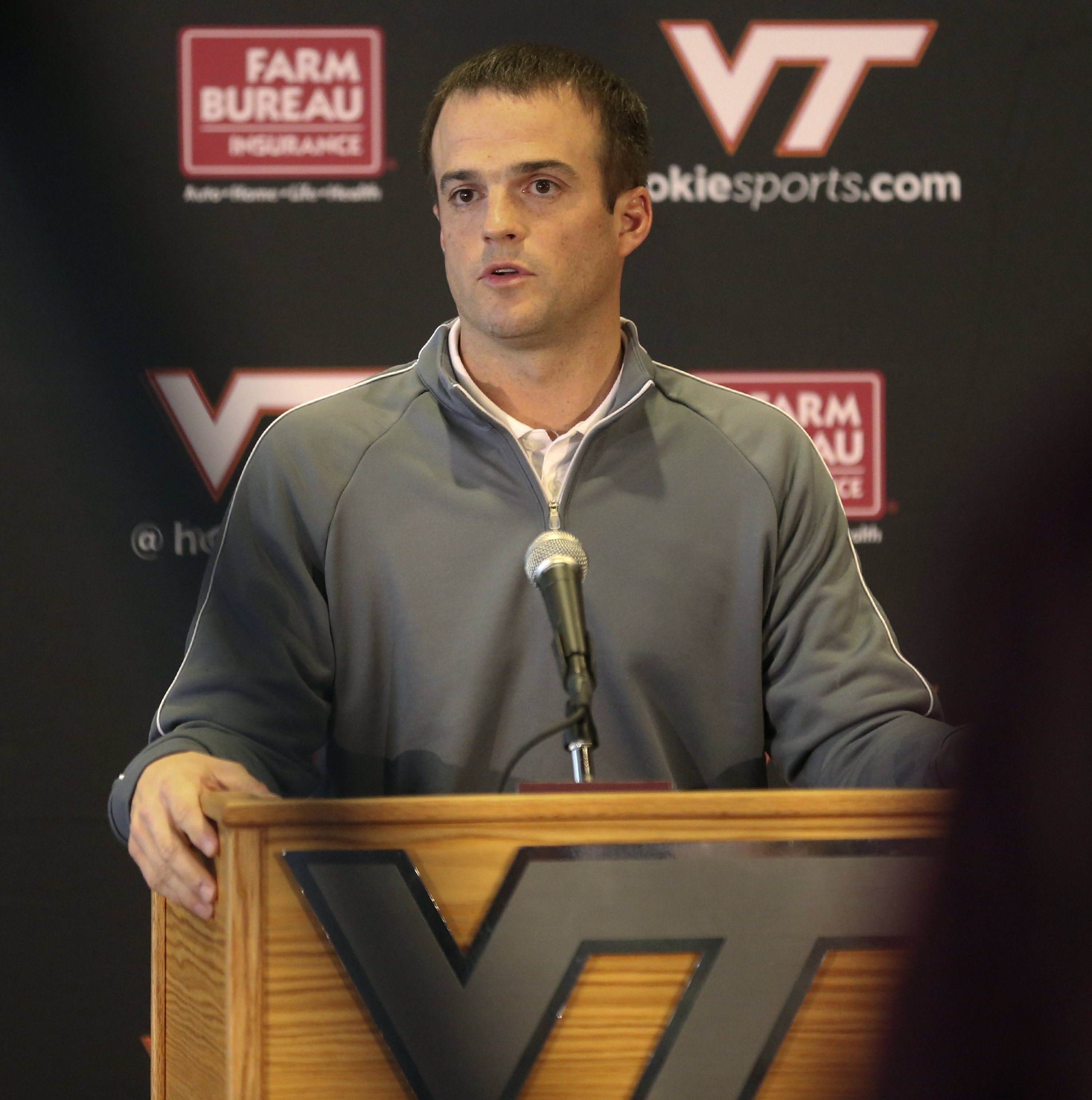 Shane Beamer, son of head coach Frank Beamer, and running backs coach speaks during a Pre-Bowl Media Conference on the Virginia Tech campus in Blacksburg, Va. Thursday, Dec. 10 2015. Virginia Tech is scheduled to play Tulsa in the Camping World Independen