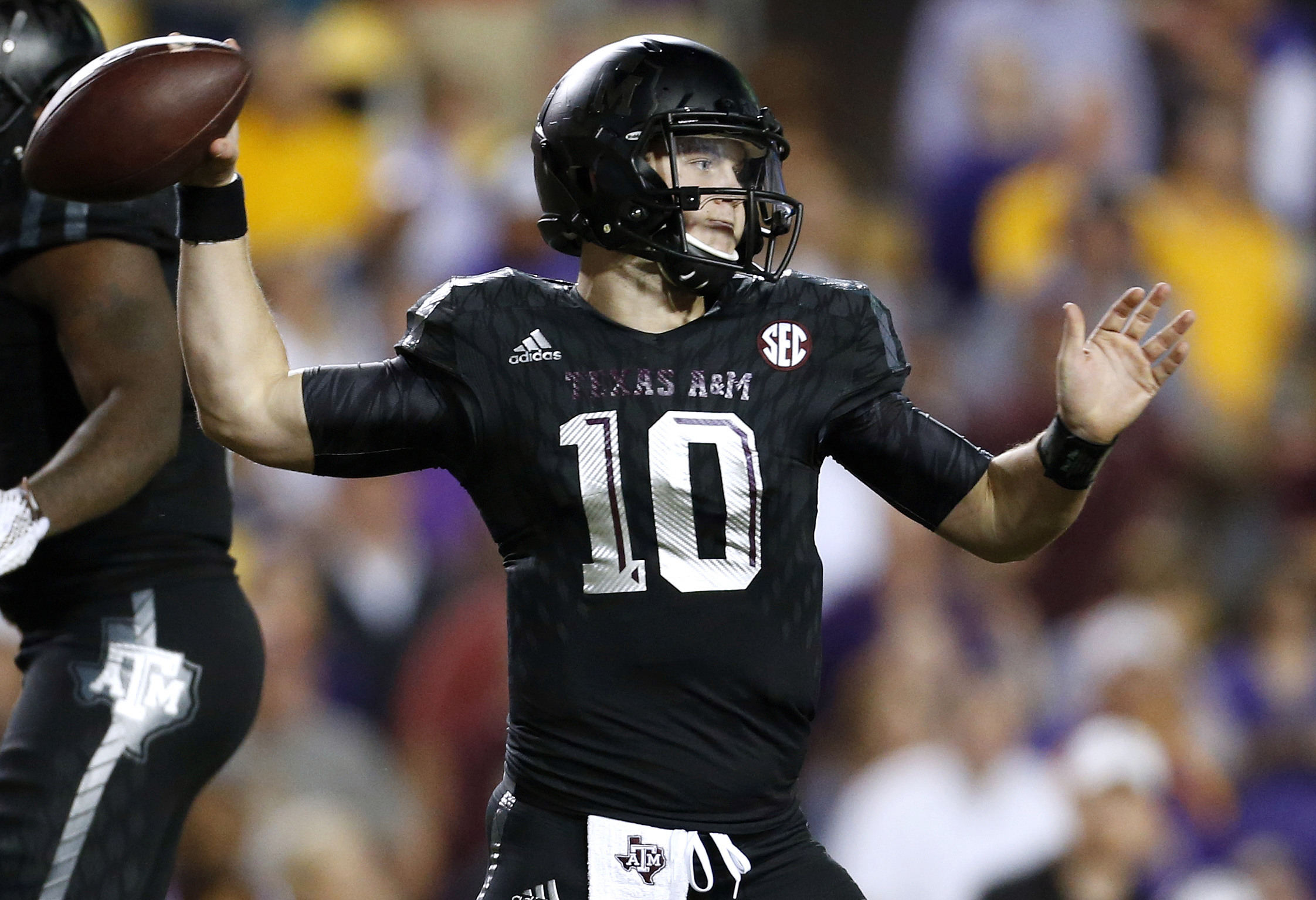 Texas A&M quarterback Kyle Allen (10) throws the ball during the second half of an NCAA college football game against LSU in Baton Rouge, La., Saturday, Nov. 28, 2015. LSU won 19-7. (AP Photo/Jonathan Bachman)